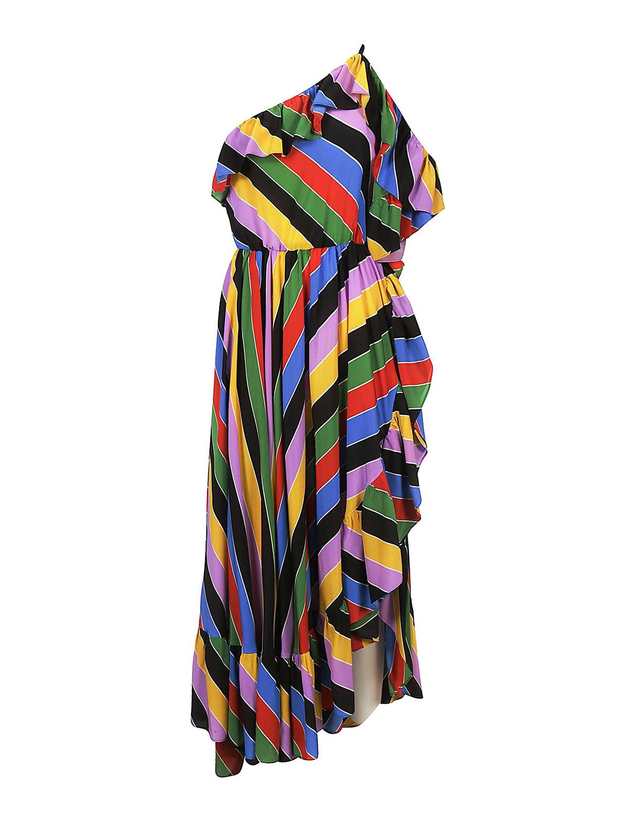 bb7550e54bd5 Philosophy di Lorenzo Serafini  abiti lunghi - Abito in seta a righe  colorate
