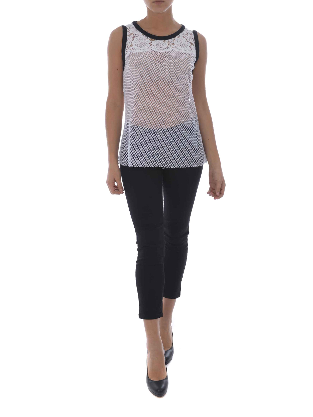 a963477f0ccf2 Philosophy di Lorenzo Serafini  Tops   Tank tops online - See-through  effect lace