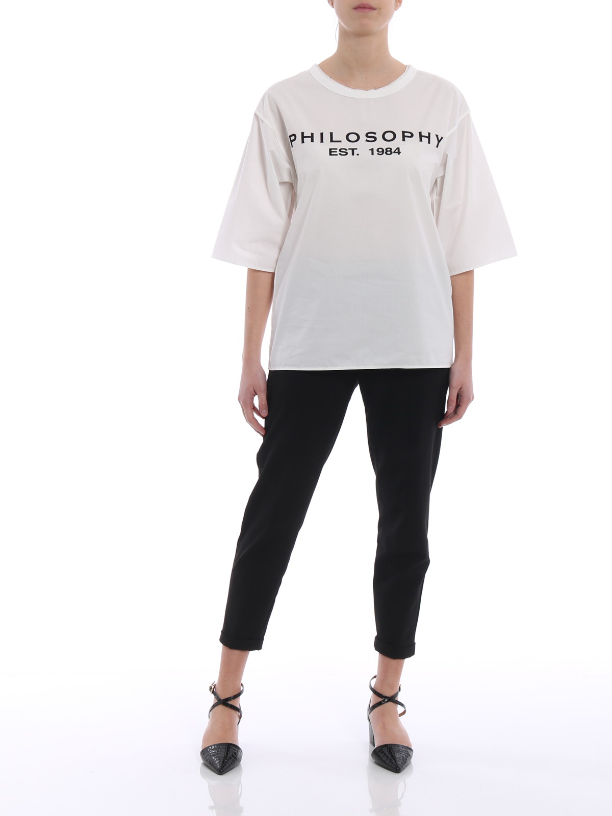 Buy Cheap Websites Poplin t-shirt with logo Philosophy di Lorenzo Serafini Outlet Store Locations Pre Order Cheap Price upn9Fhj9