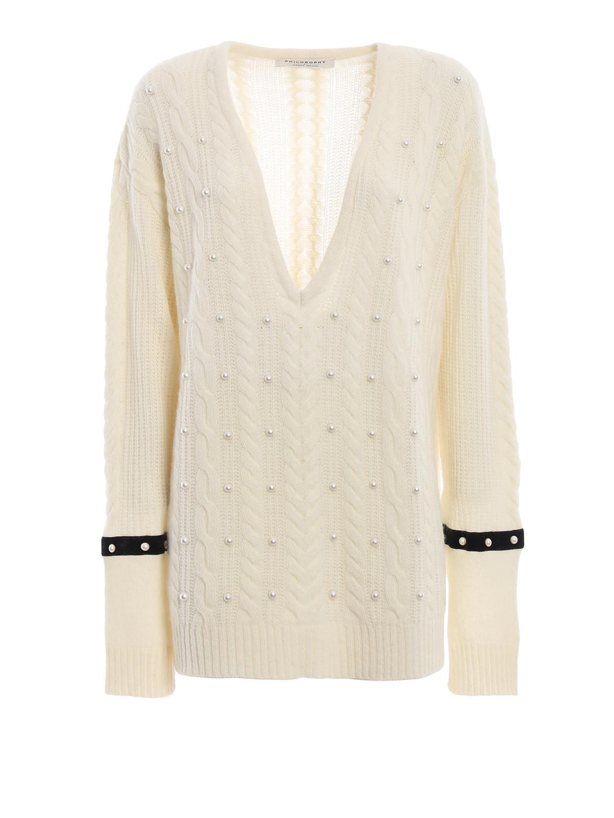 c9a2c914988f19 Philosophy di Lorenzo Serafini: v necks - Pearl embellished oversize cable knit  sweater