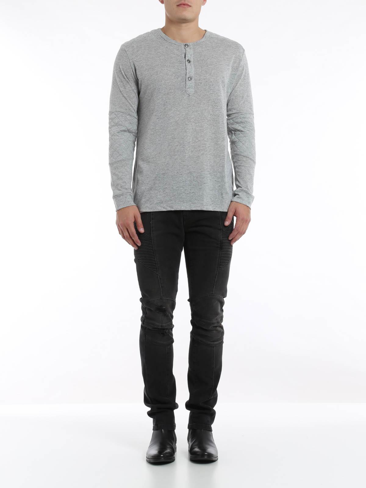 0b9545c6 Pierre Balmain - Crew neck t-shirt with buttons - t-shirts - HP6360SA384