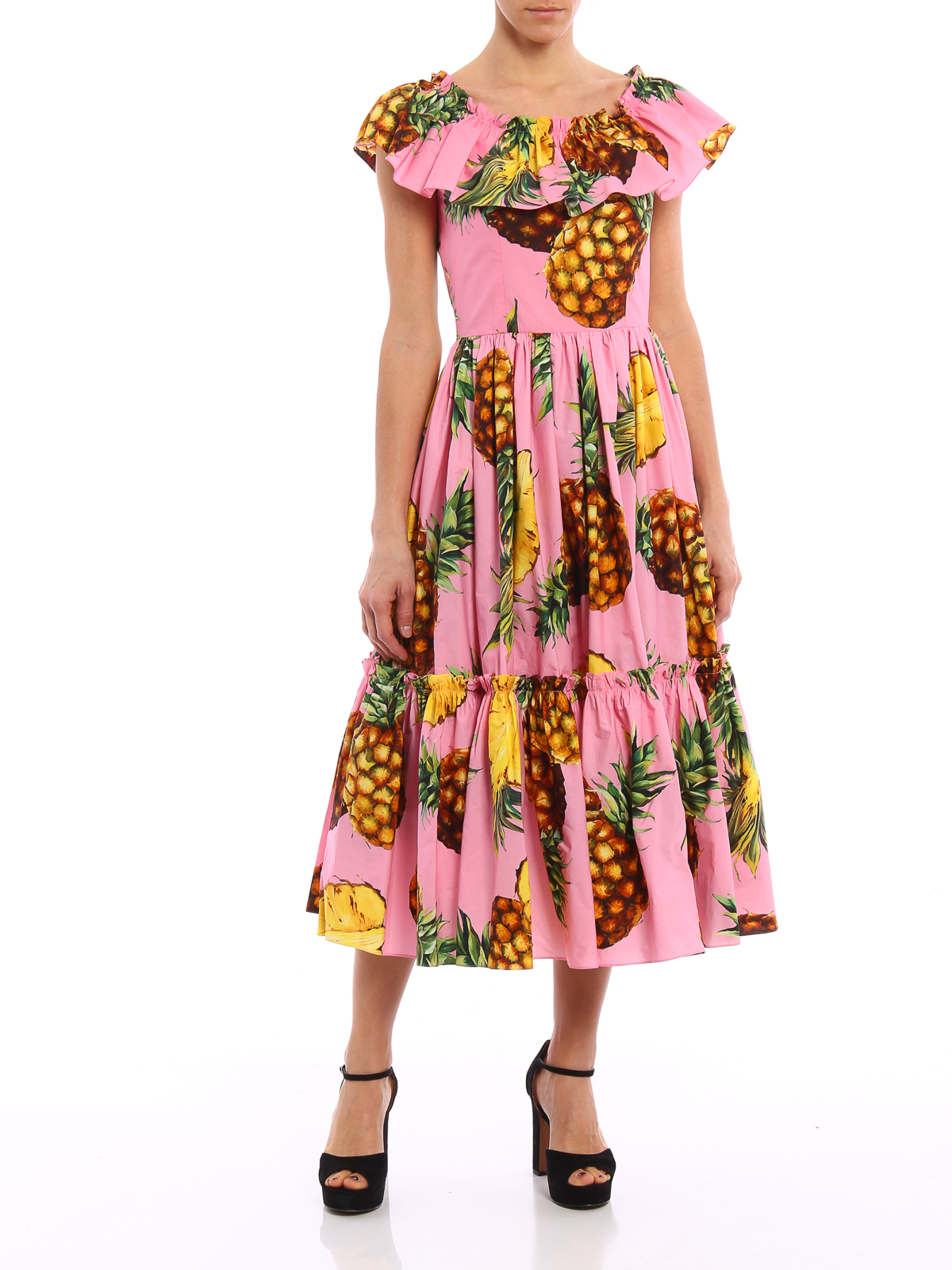 Dolce & Gabbana Pineapple print flounced dress maxi
