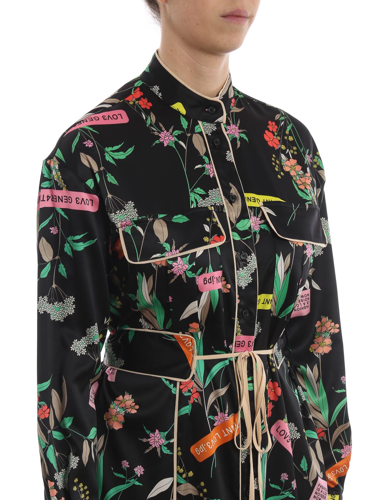 low priced 57eb2 2d466 Pinko - Rosalinda flower pint maxi shirt dress - maxi ...