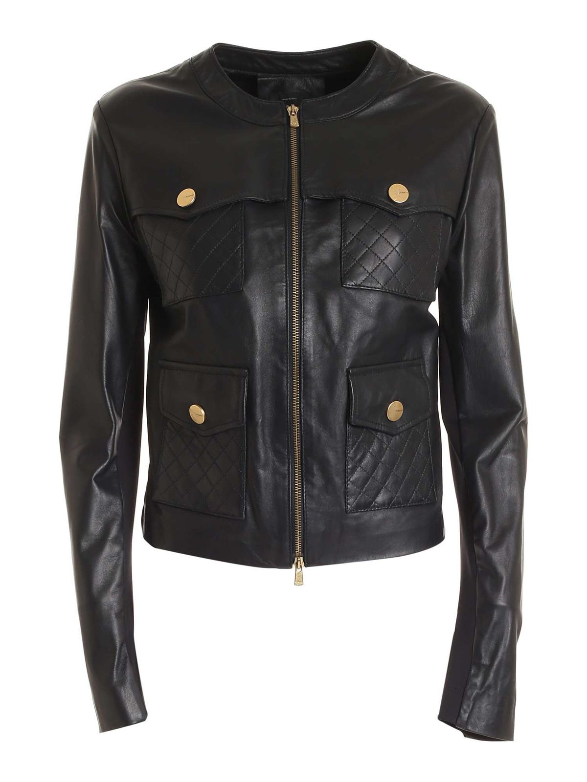 Pinko Leathers LEATHER JACKET IN BLACK