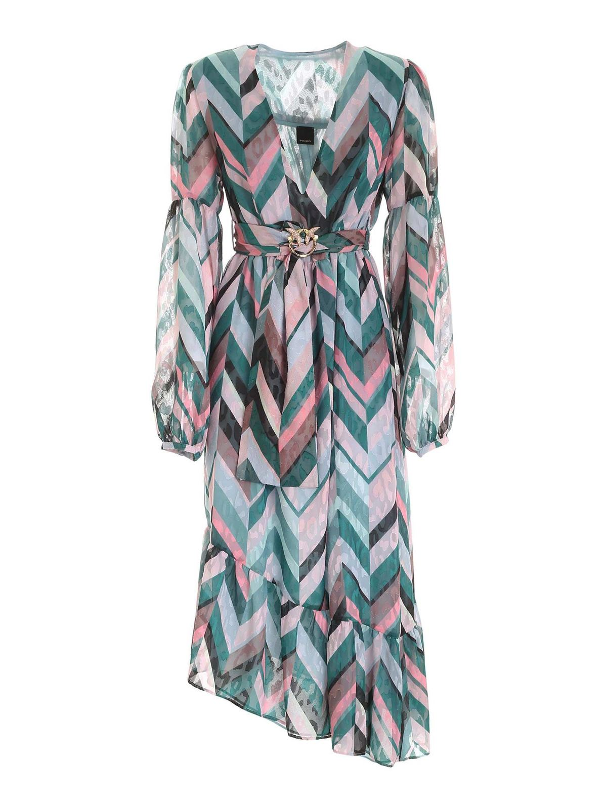 Pinko HUBBLE FIL COUPE DRESS IN GREEN AND PINK