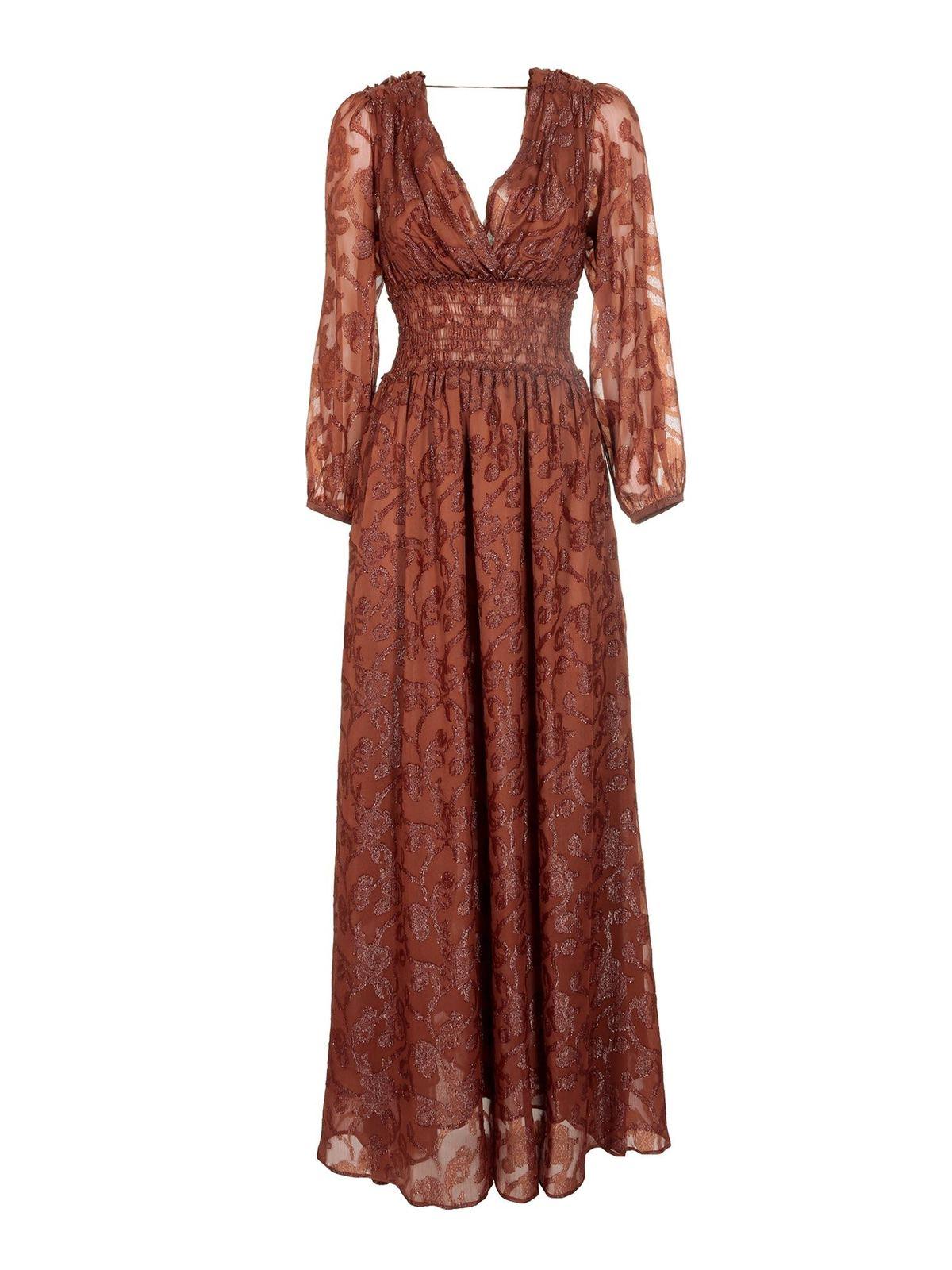 Pinko Linings LAME DETAILED LONG DRESS IN BROWN