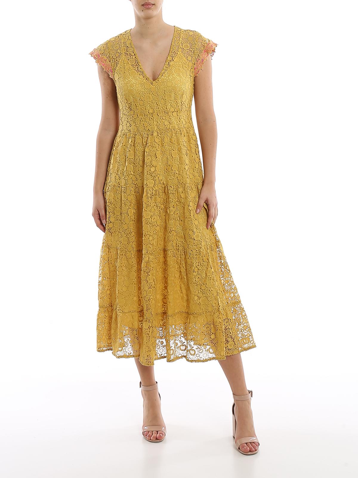 pinko - knielanges kleid - gelb - knielange kleider
