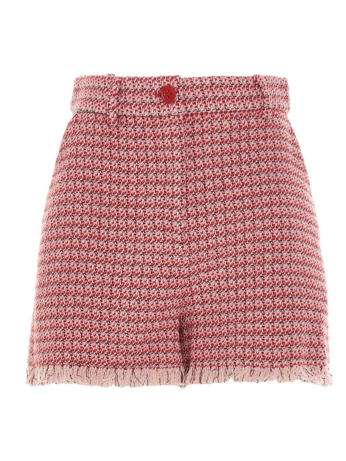 Pinko Cottons MICRO-PATTERNED SHORTS IN RED