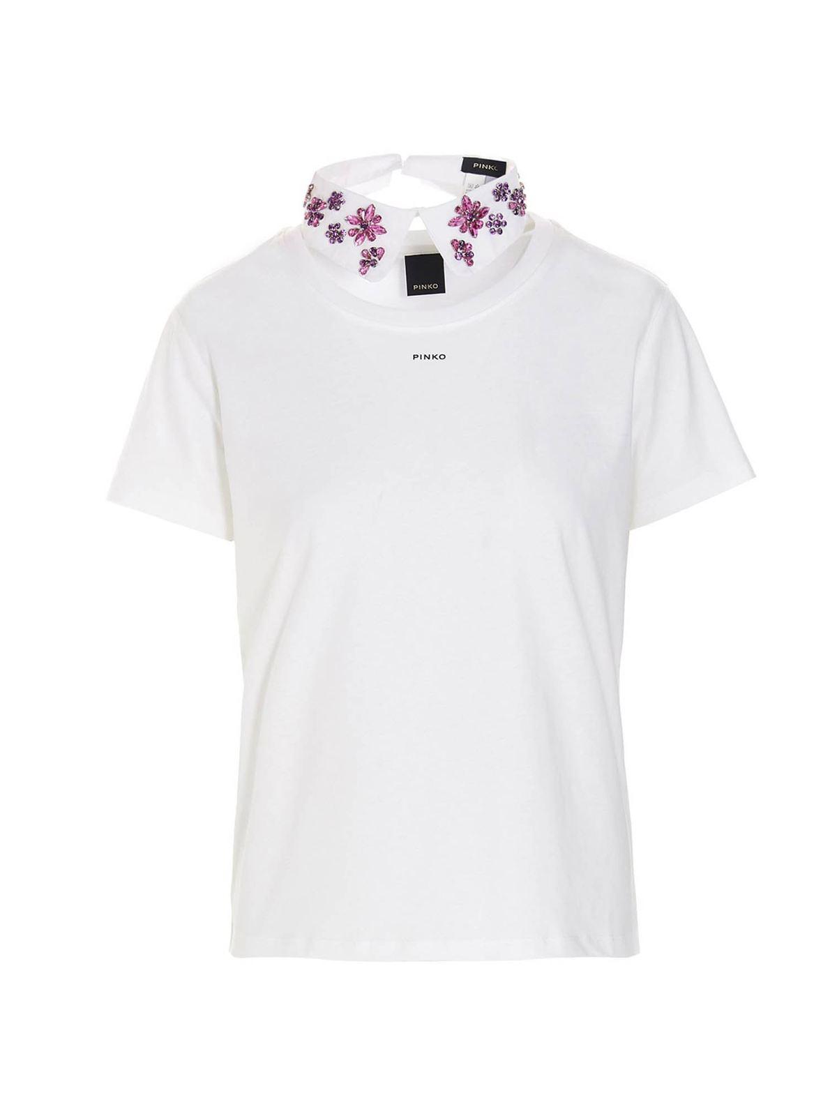 Pinko T-shirts JEWEL COLLAR T-SHIRT IN WHITE