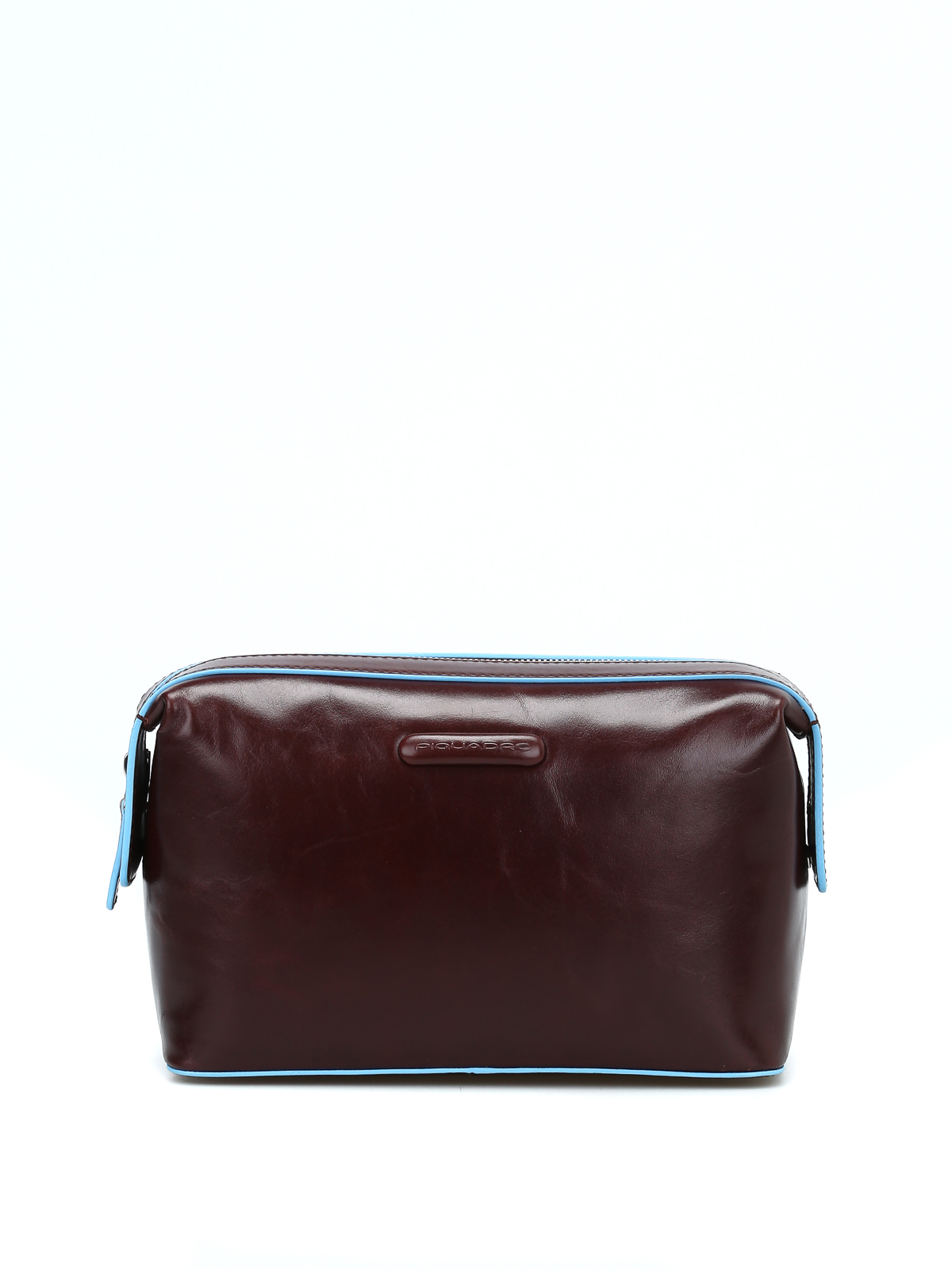 Piquadro Brushed Leather Classic Beauty Case In Brown