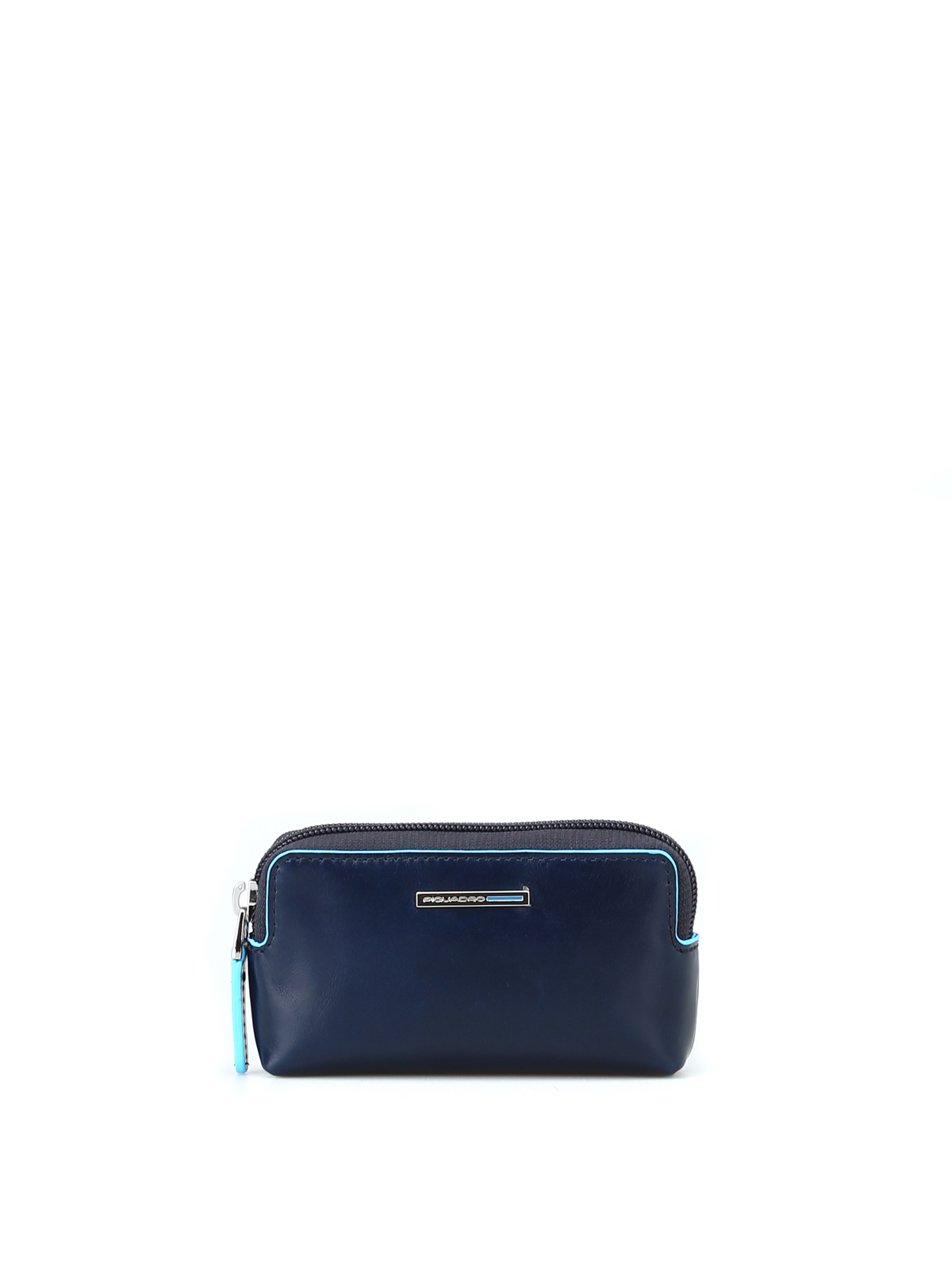 Piquadro Blue Square Leather Key Pouch