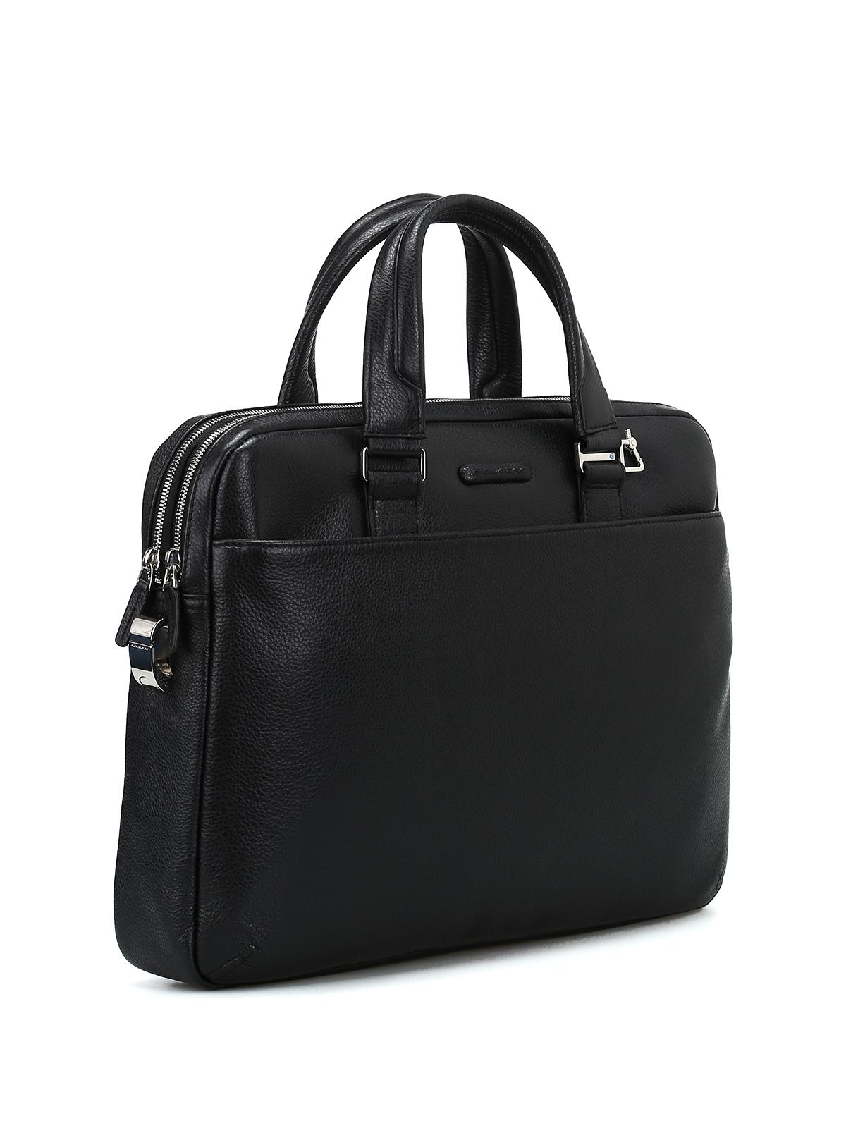 Piquadro borsa da ufficio in pelle a grana borse da for Borsa ufficio uomo