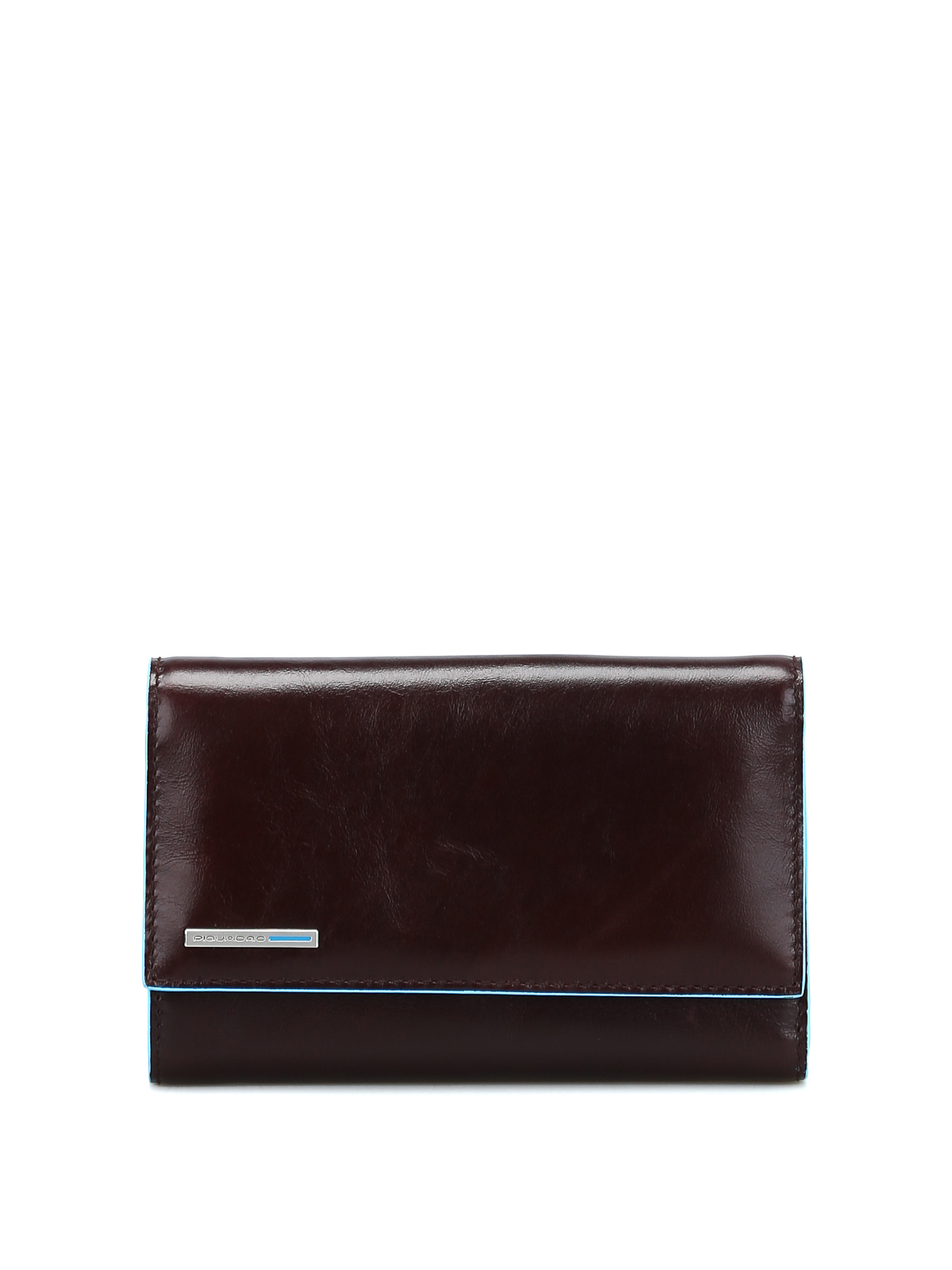Piquadro Mahogany Leather Wallet In Brown