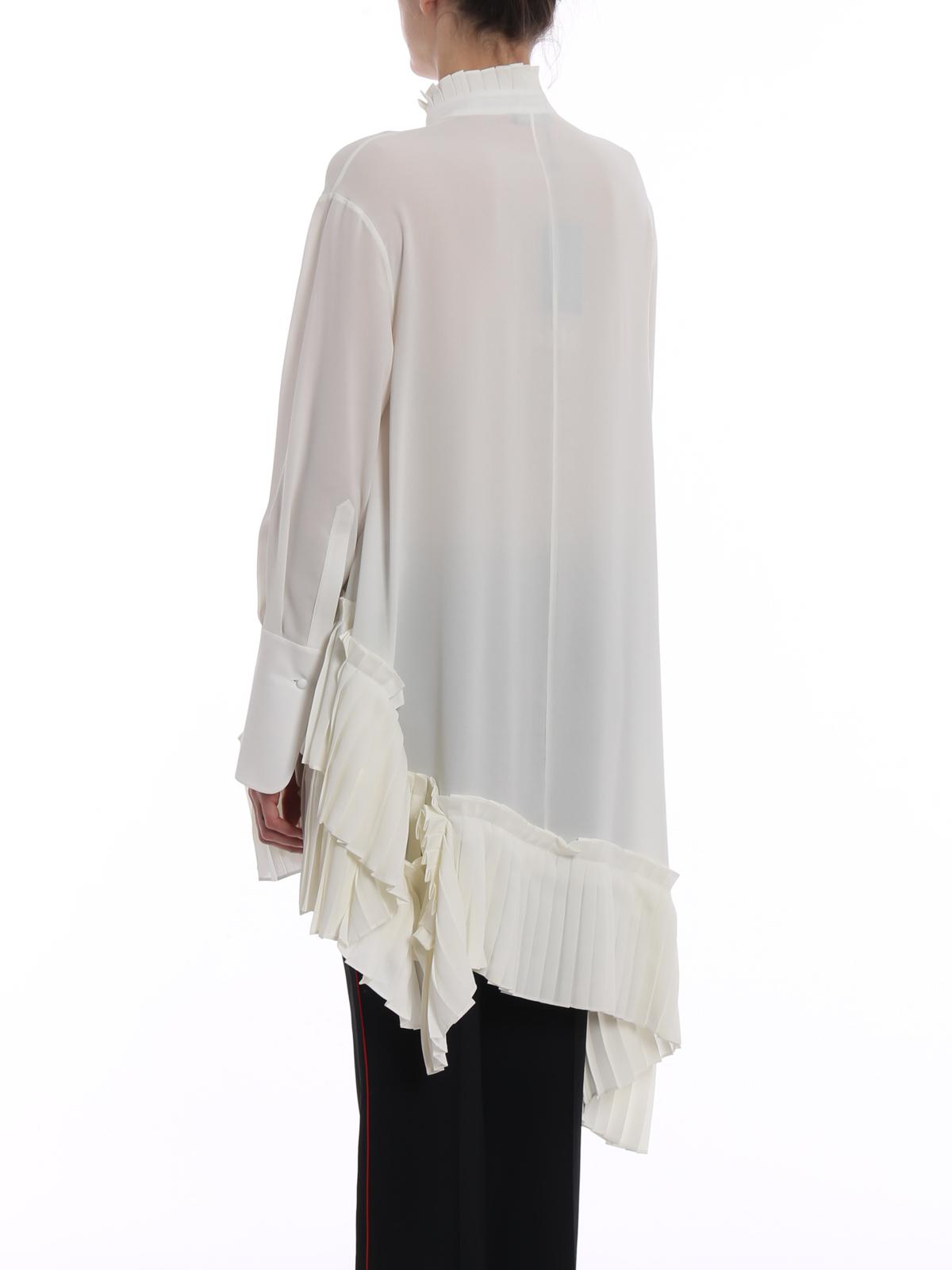 bfac32c1c21 Alexander Mcqueen - Pleated hem asymmetric silk shirt - shirts ...