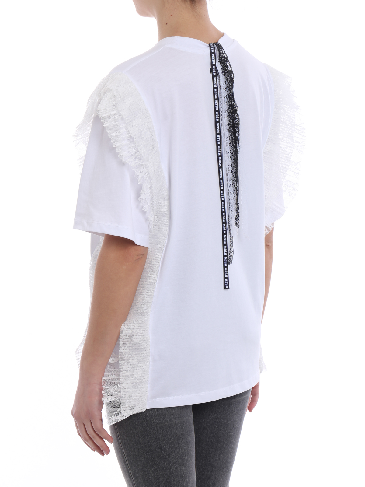 Sale Official Buy Cheap Supply White t-shirt with lace inserts Msgm gvc4l