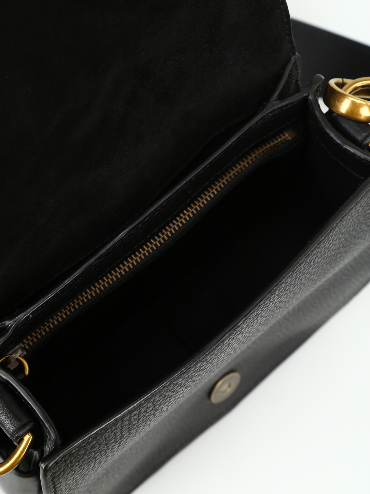 a825ccd67a Polo Ralph Lauren - Black hammered leather saddle bag - cross body ...