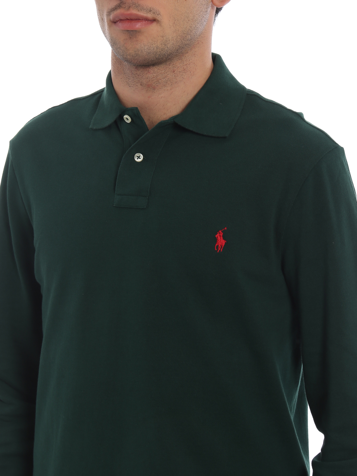 Polo Ralph Lauren Bottle Green Cotton Long Sleeve Polo Shirt