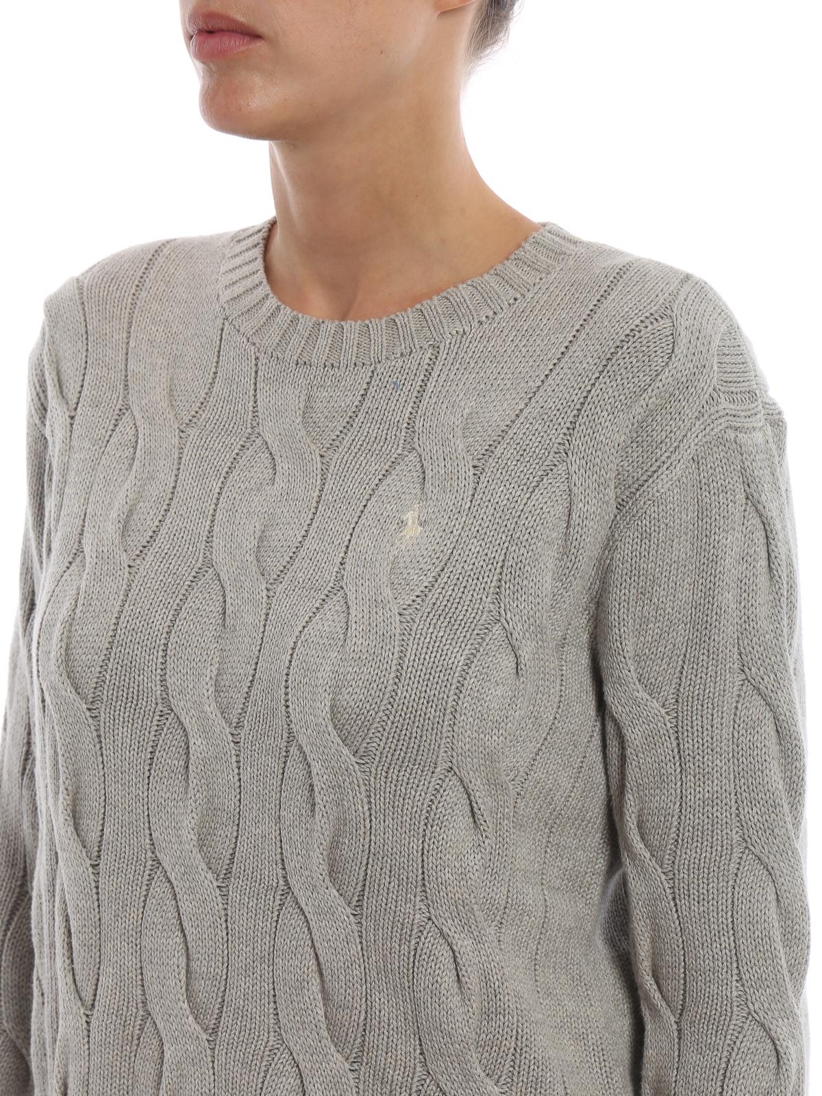 d3143680e73f Polo Ralph Lauren - Cable knit melange grey cotton sweater - crew ...