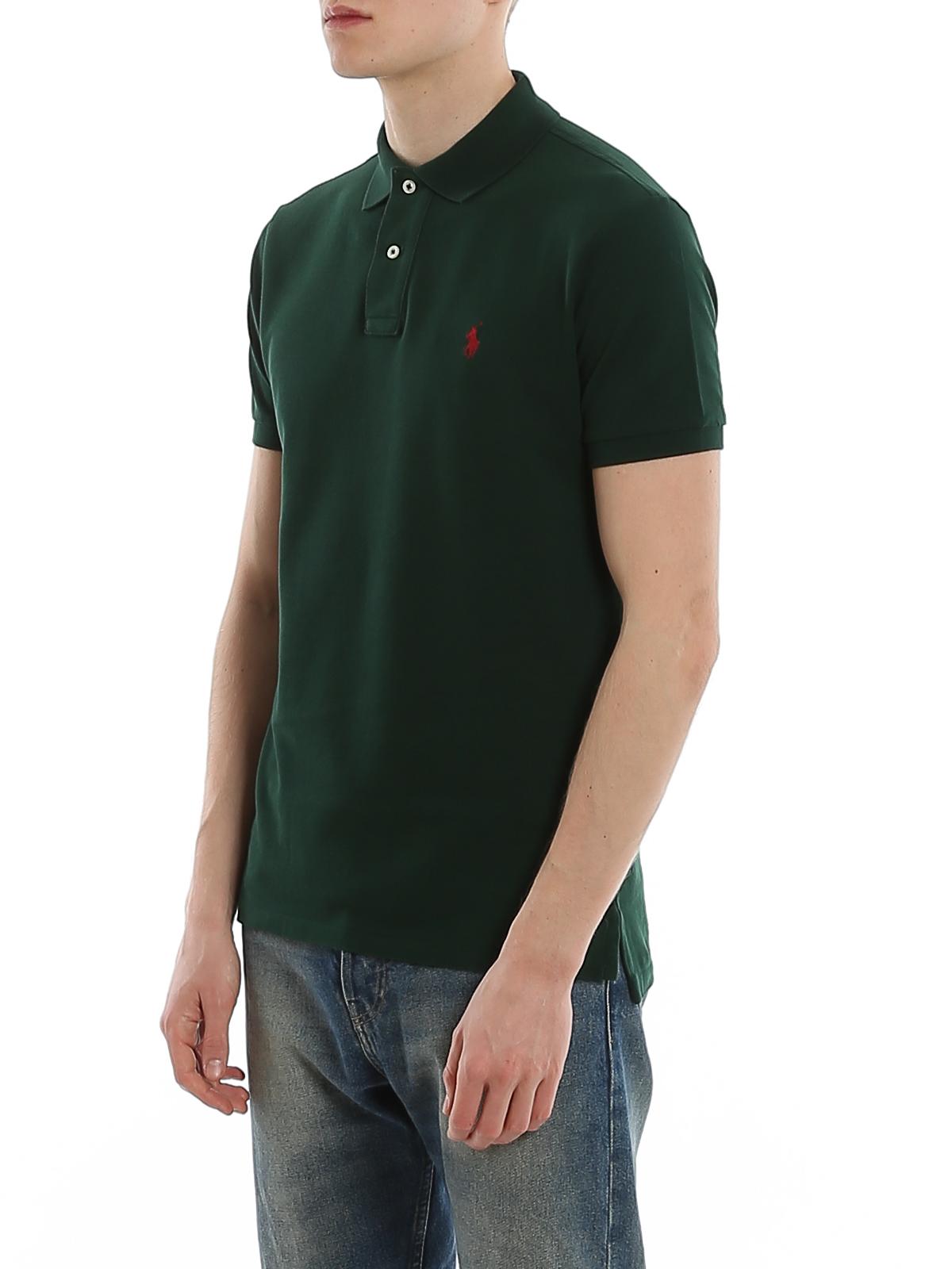 Polo Ralph Lauren - Dark green slim polo shirt - polo shirts ...