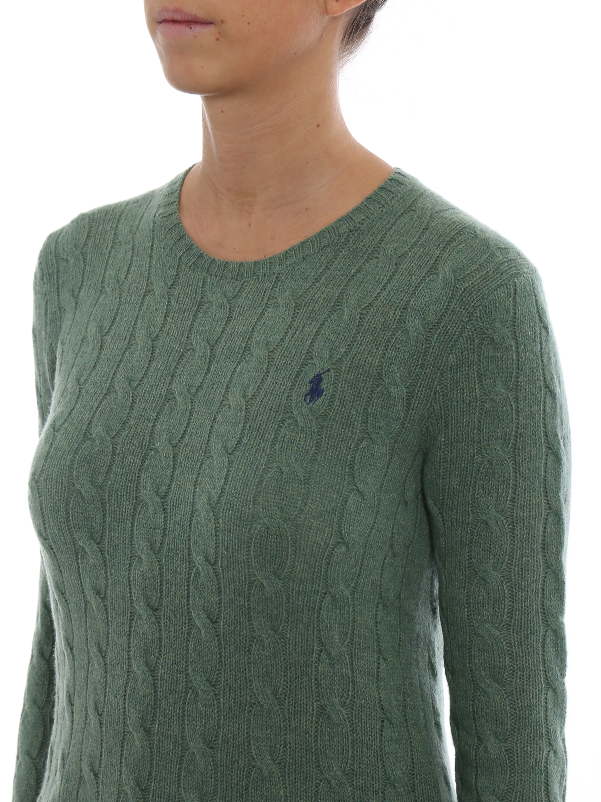 62034a0f4 POLO RALPH LAUREN buy online Green cable knit merino and cashmere sweater. POLO  RALPH LAUREN  crew necks ...