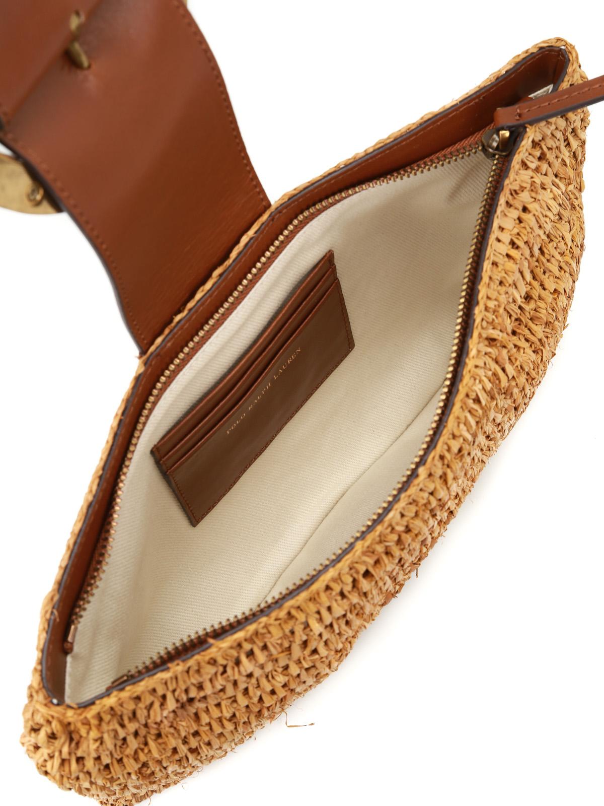 Polo Ralph Lauren buy online Lennox small natural raffia clutch