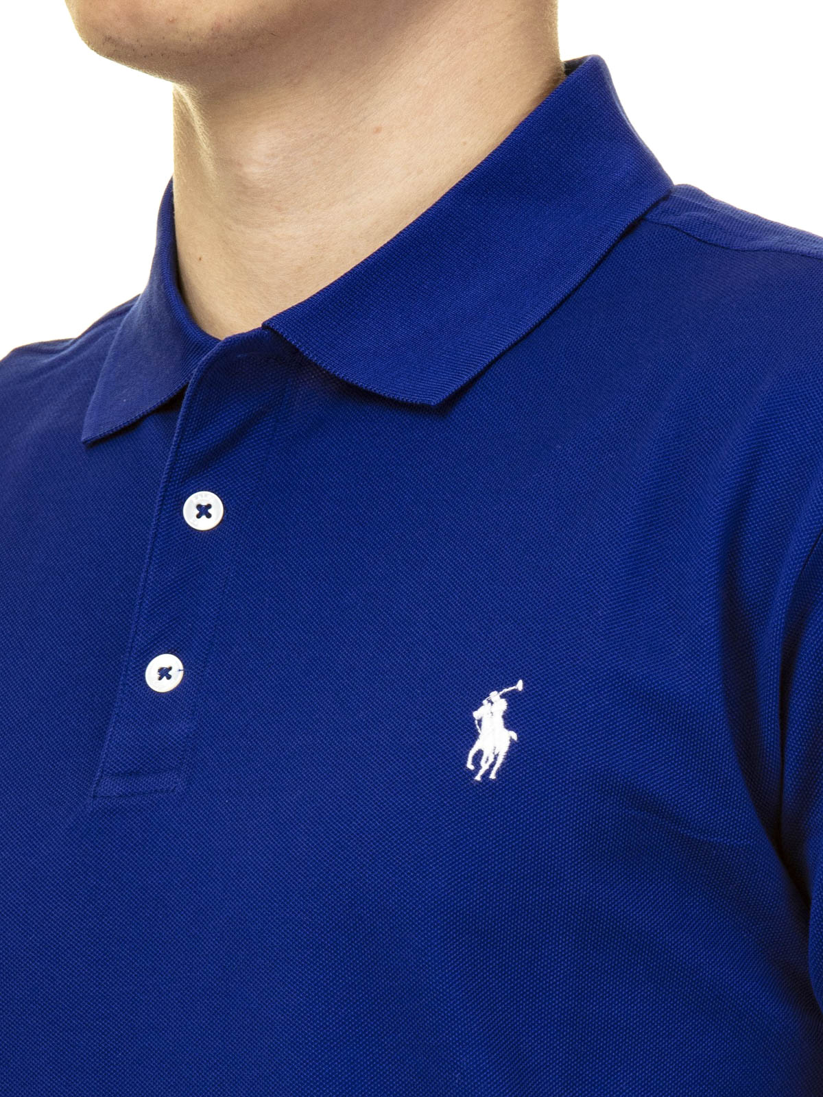 temperamento Piantina Intarsio  Polo Ralph Lauren - Logo royal blue pique cotton polo shirt - polo shirts -  710541705112