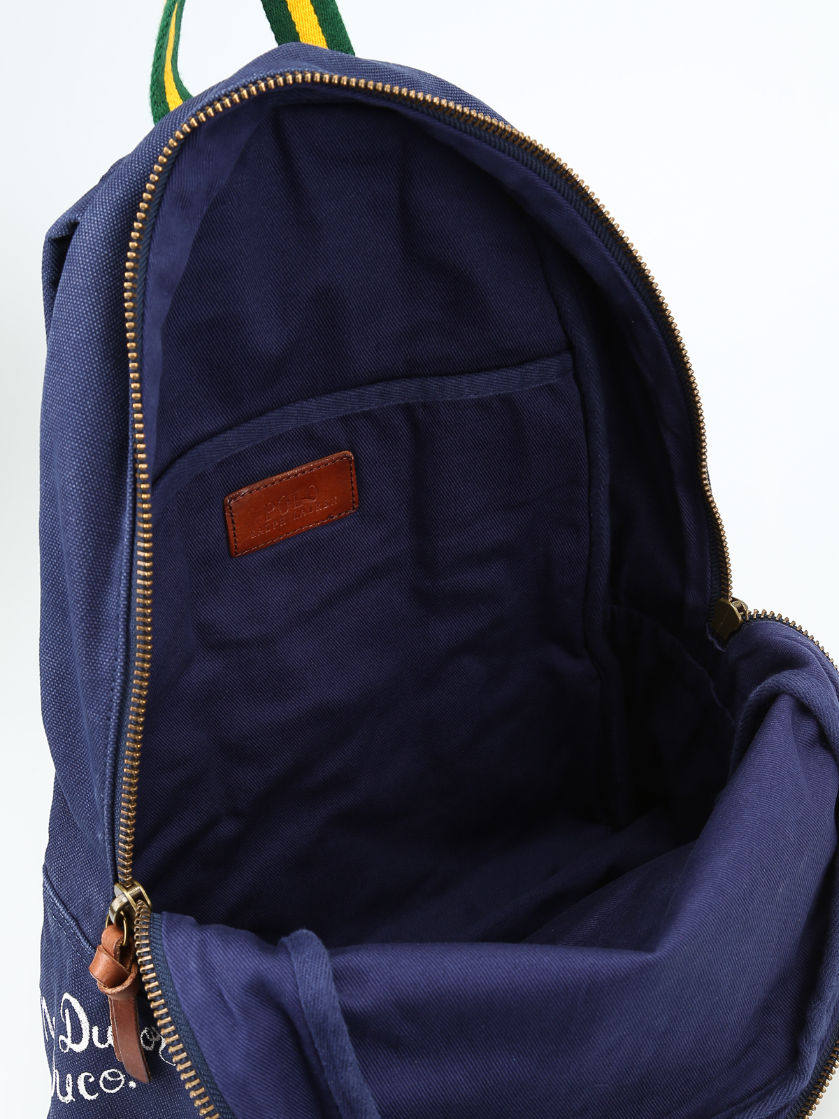 2e5df3f19e4 POLO RALPH LAUREN buy online Printed blue canvas backpack with patch