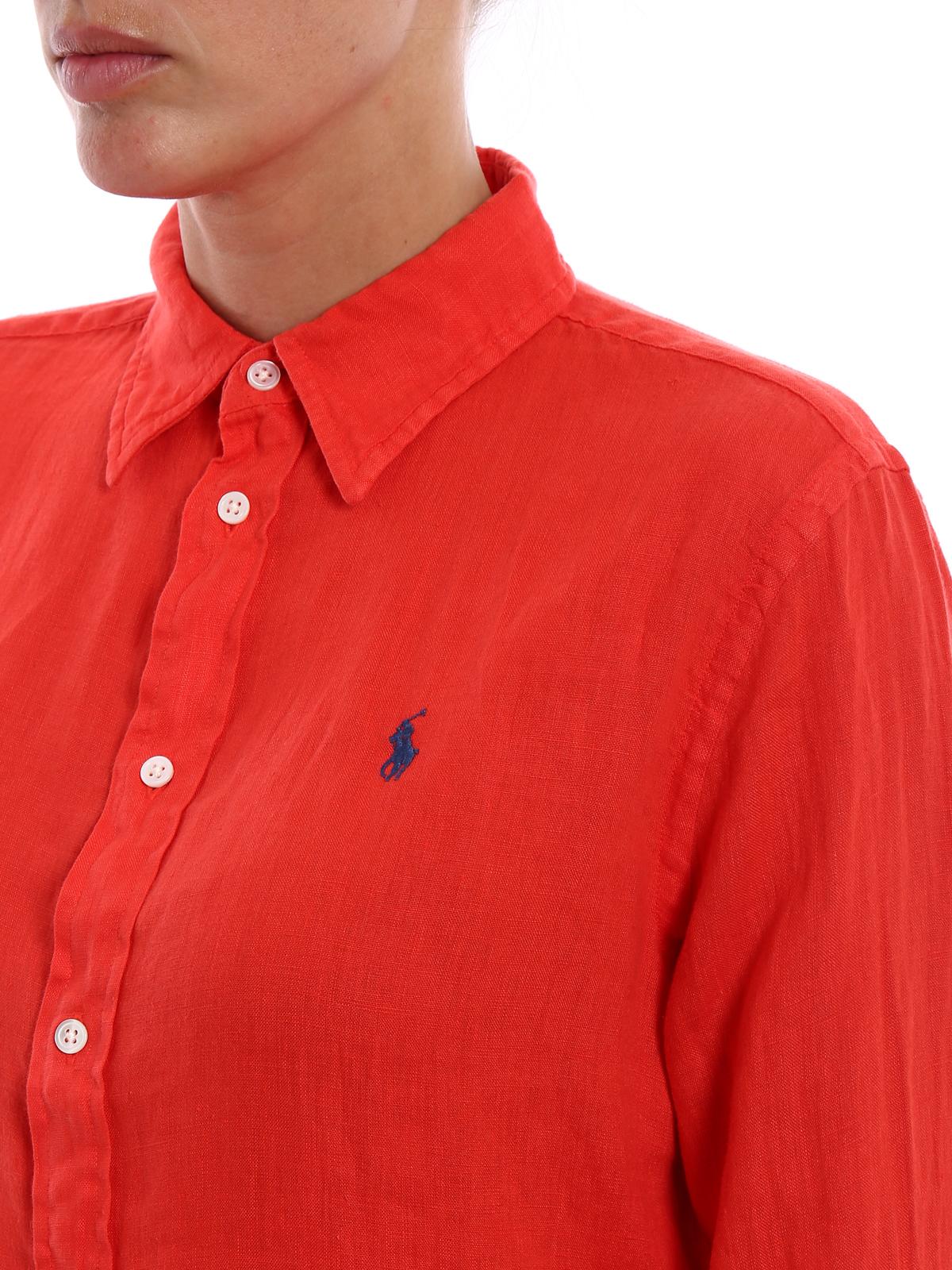 sports shoes b3470 cc4d9 Polo Ralph Lauren - Camicia rossa in lino - camicie ...