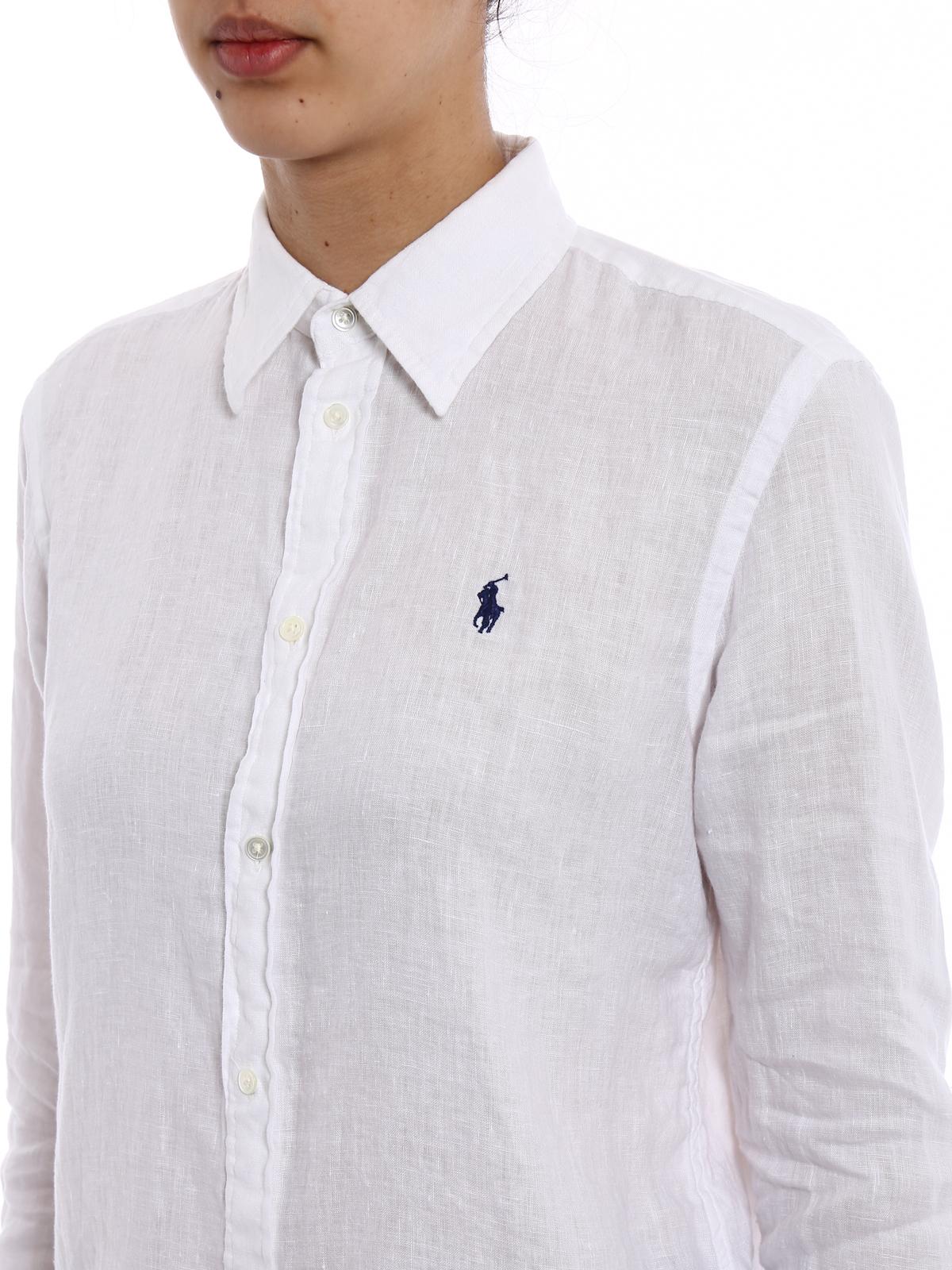 Ralph Polo 211697461001 Lauren White Linen Shirts Shirt POXNw08nk