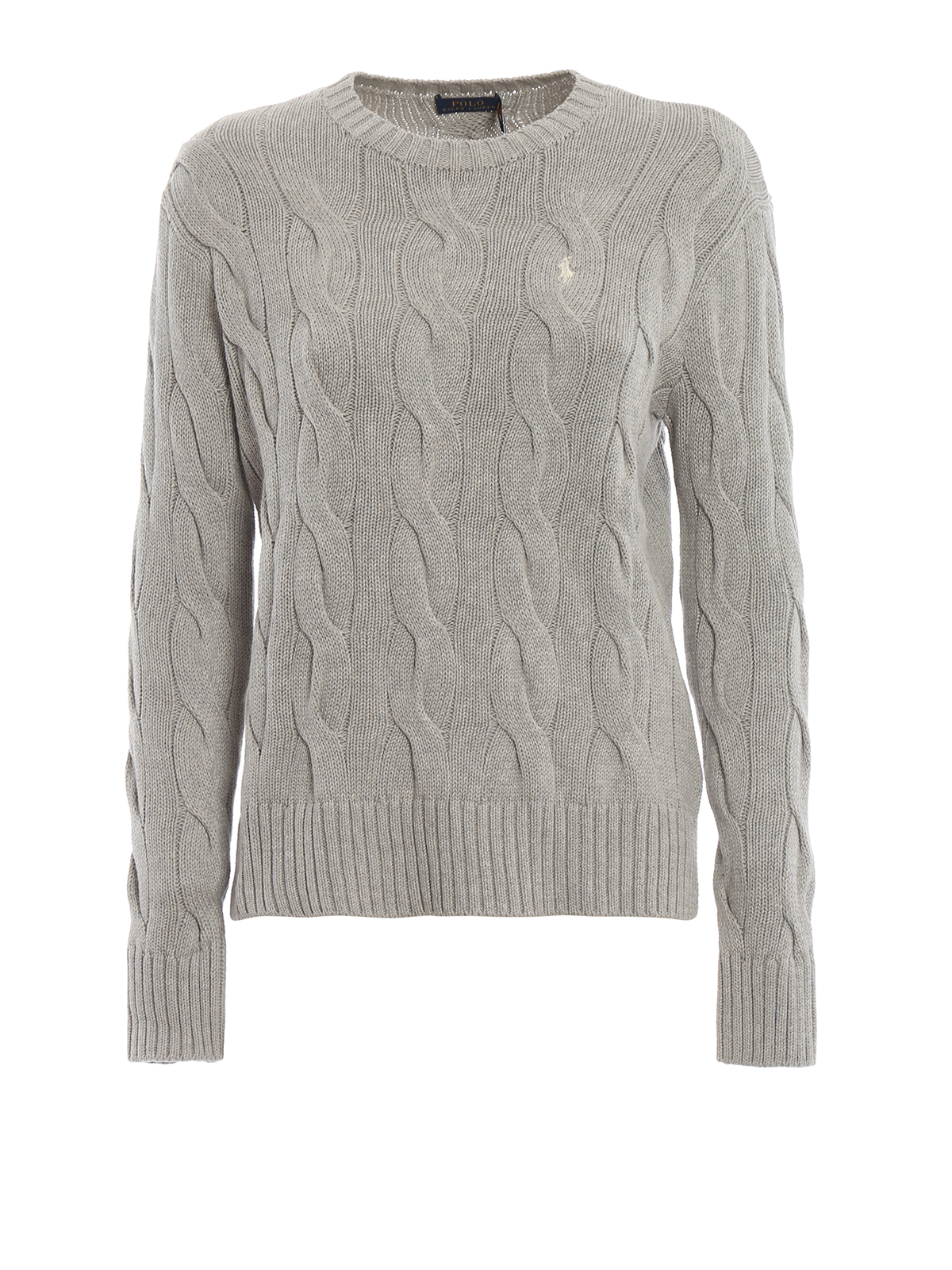 check-out 95fd0 53a15 Polo Ralph Lauren - Pullover in cotone a trecce grigio ...
