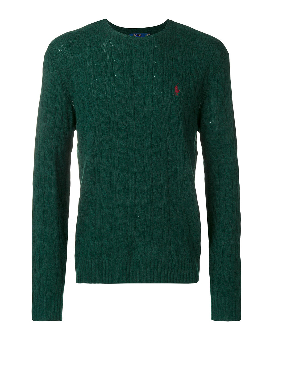 ab167ec4f POLO RALPH LAUREN  crew necks - Green cable knit wool and cashmere sweater