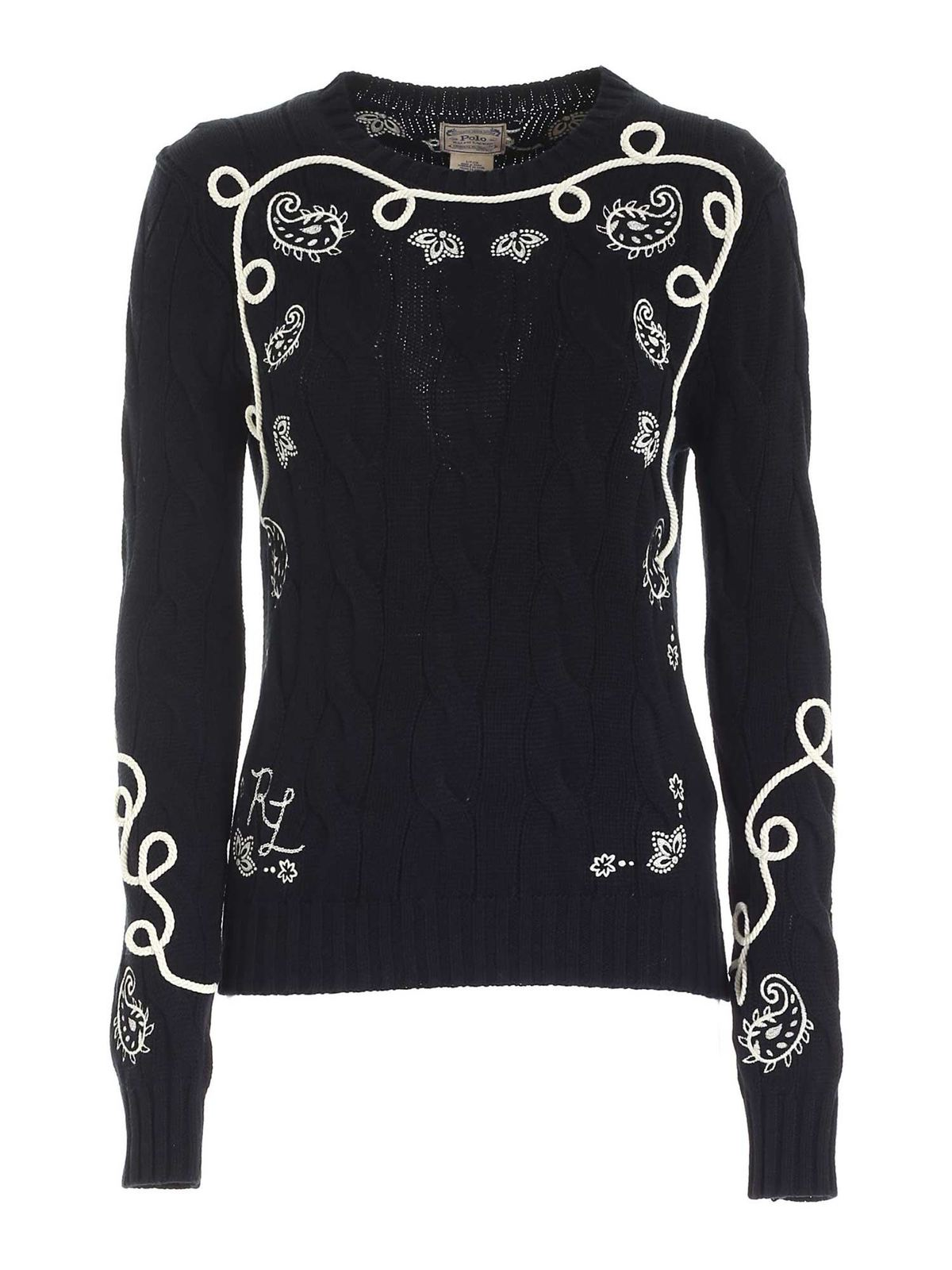 Polo Ralph Lauren WHITE EMBROIDERY PULLOVER IN BLACK