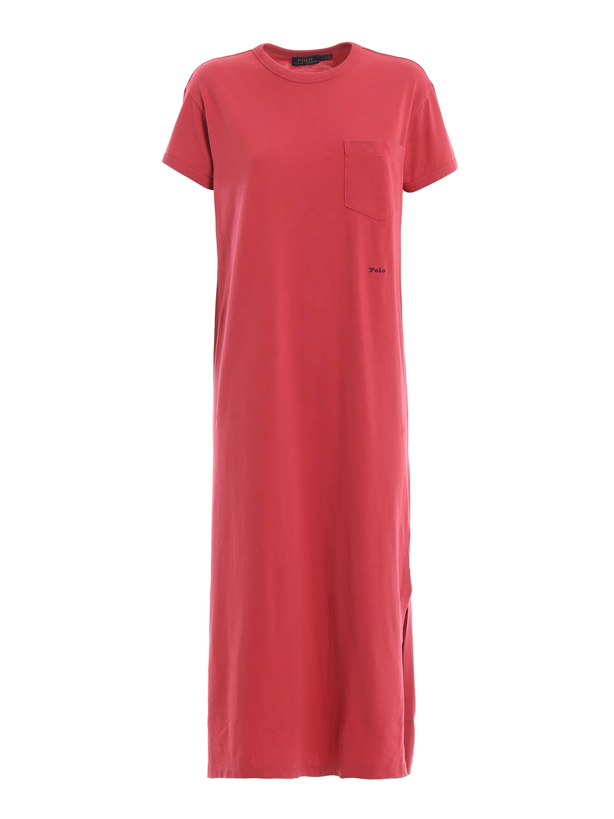 Red Maxi Cotton Polo Lauren Jersey Ralph Fading Tee Dress roxBCeWd
