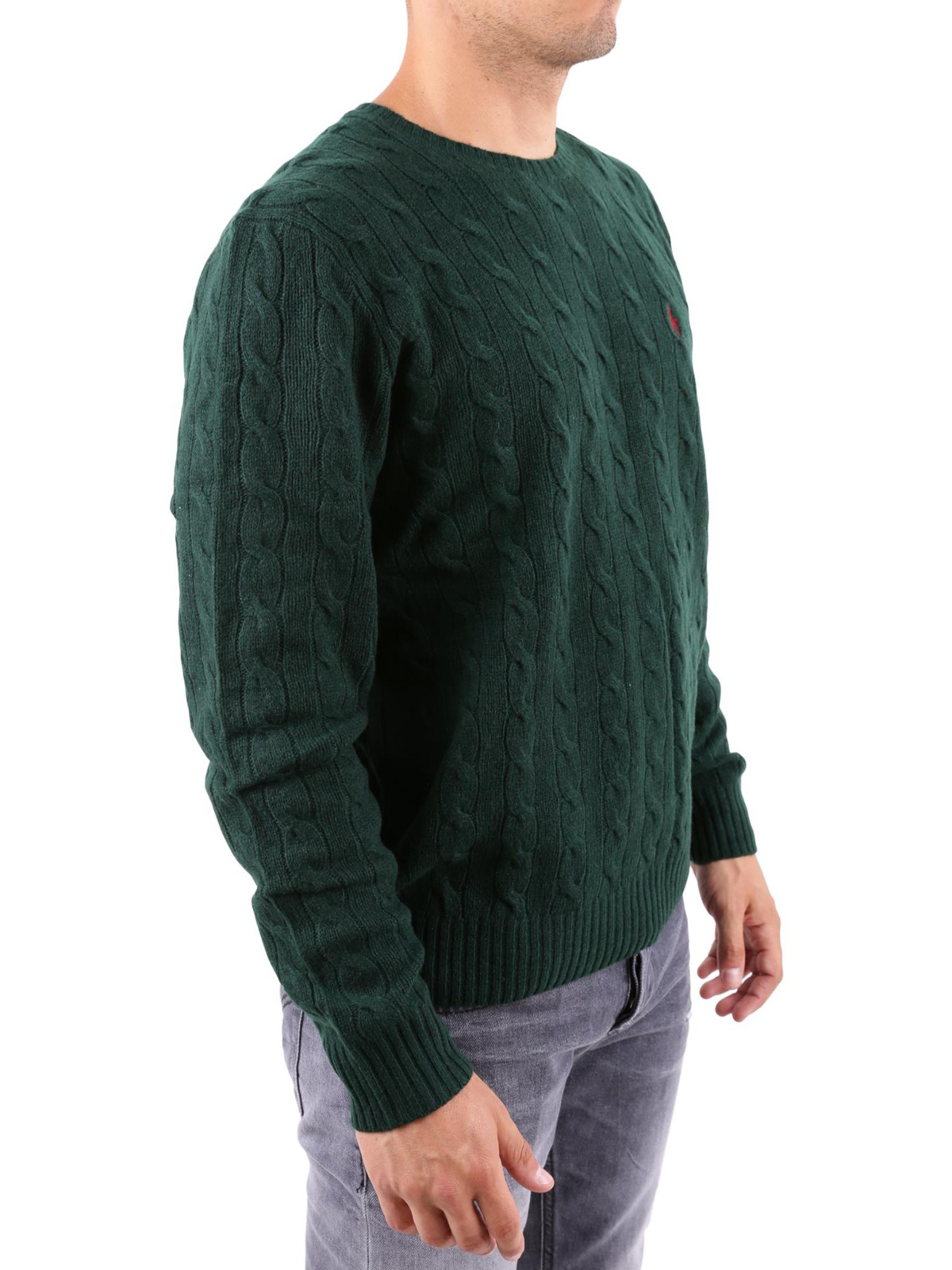 94286437d POLO RALPH LAUREN  crew necks online - Green cable knit wool and cashmere  sweater