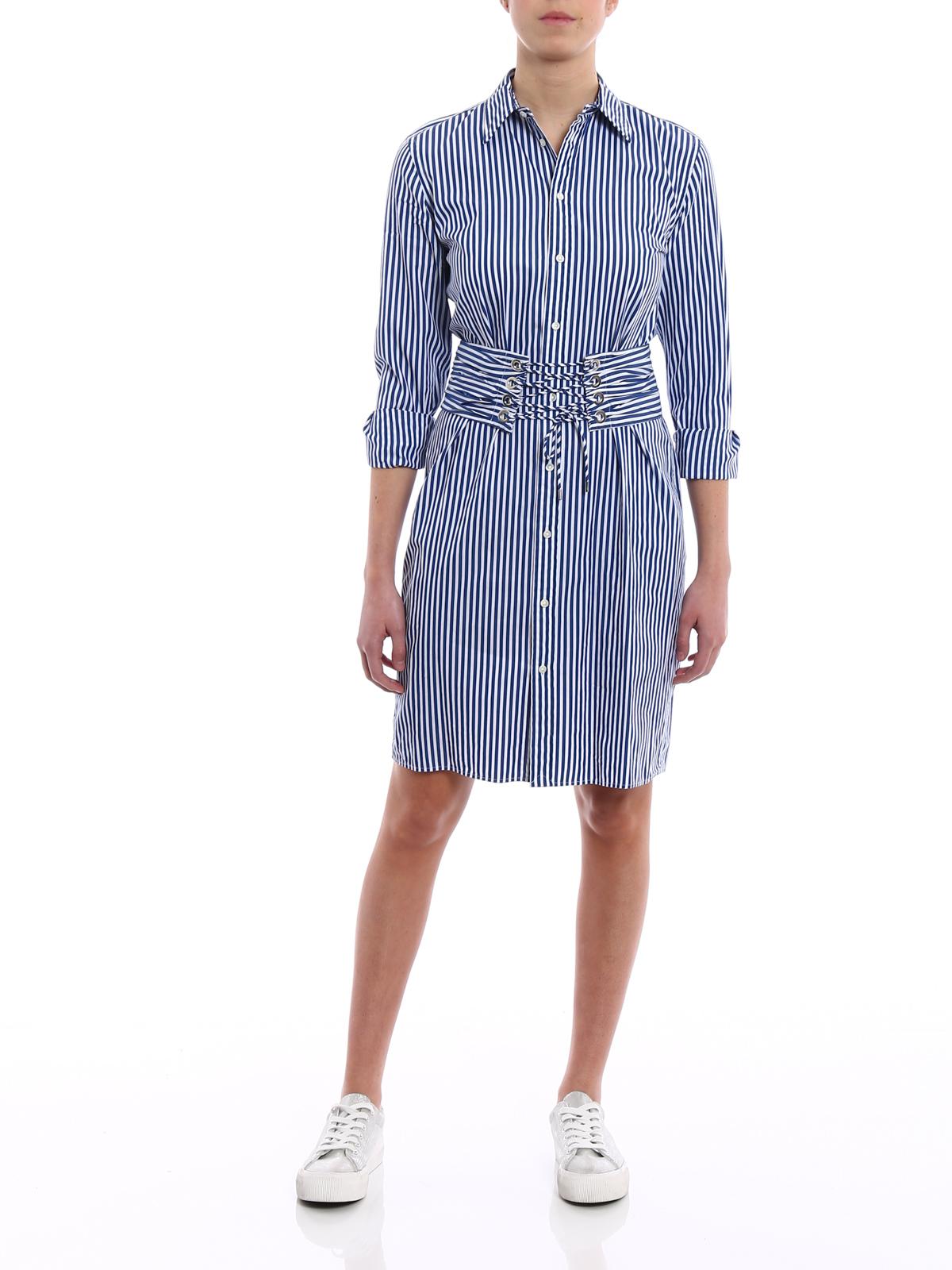 Polo Ralph Lauren Striped Cotton Shirt Dress Short Dresses
