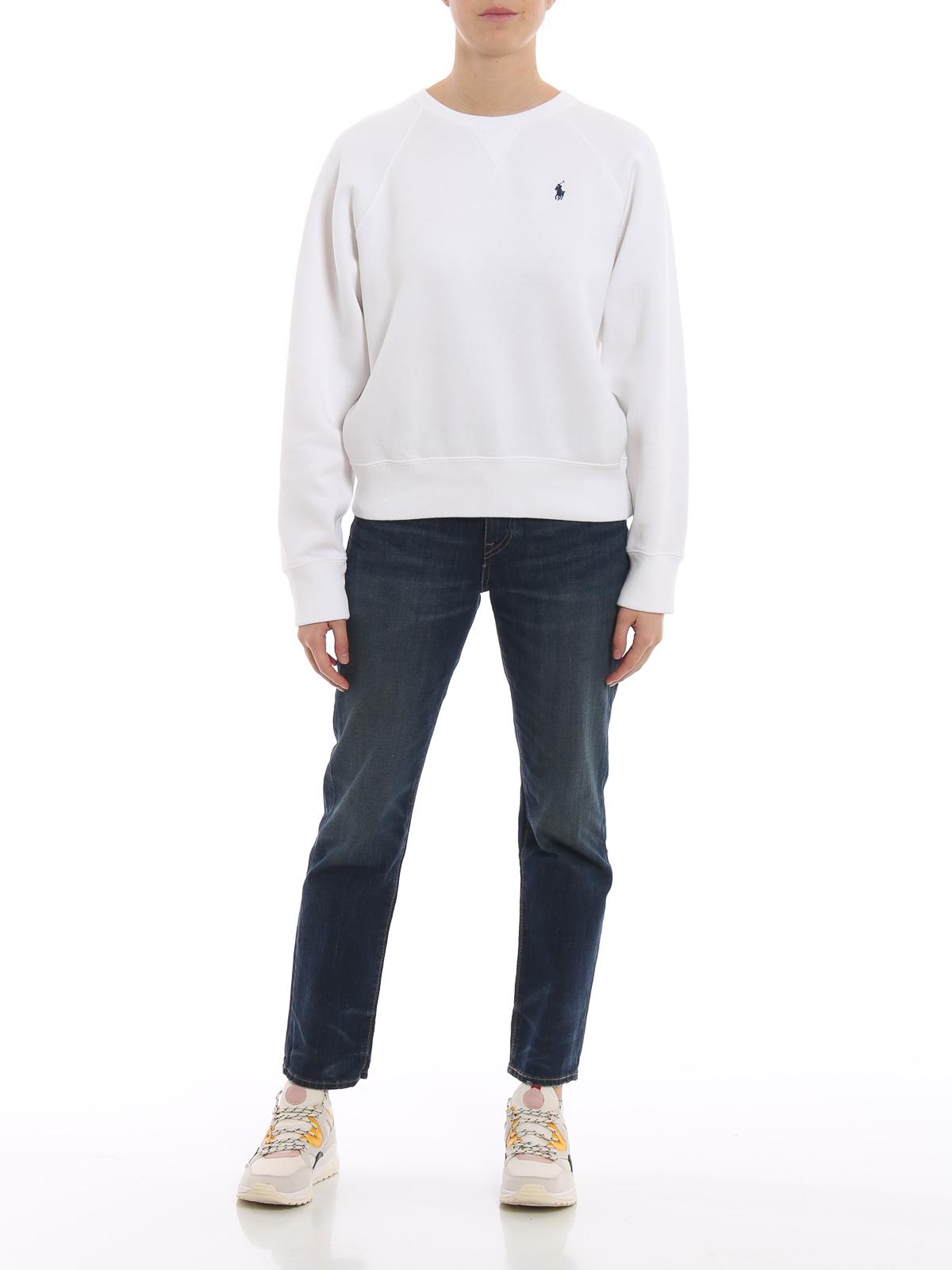 Ralph Sweatshirts White Crew Sweatshirt Polo Lauren Neck gv7fYb6y