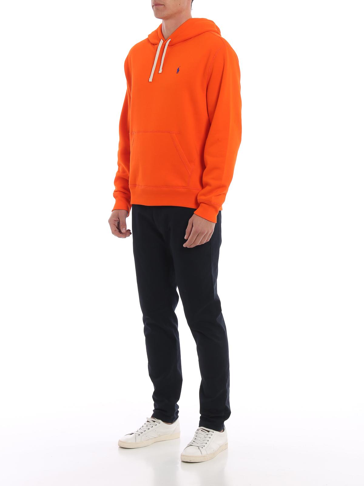 Ralph Polo Orange Lauren Hoodie Cotton Blend Sweatshirts LMVpqGSUz