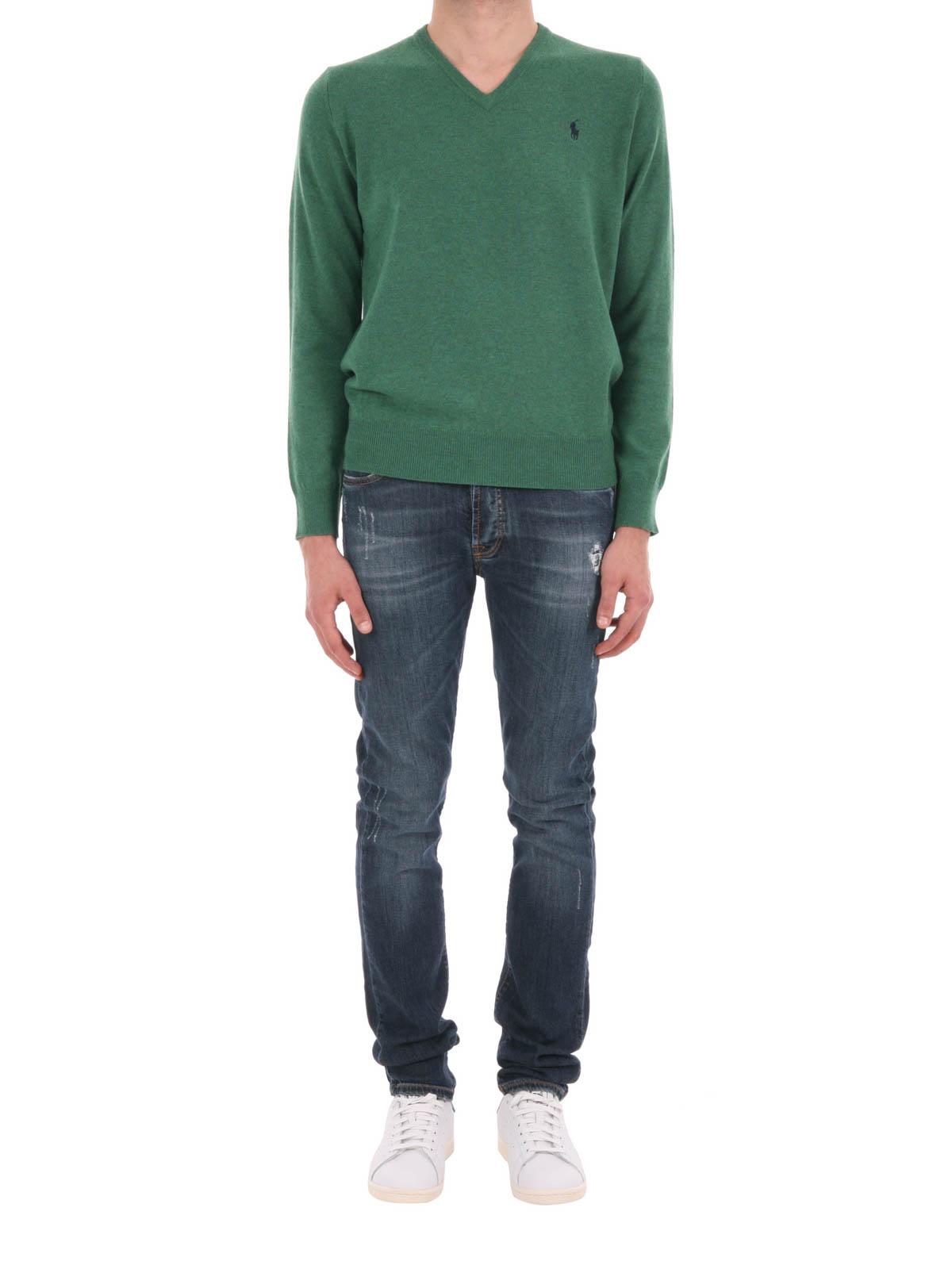 Polo Ralph Lauren - T-Shirt À Col V Vert Clair - Col en V - A42SVN13 ... 9ee8195c5259