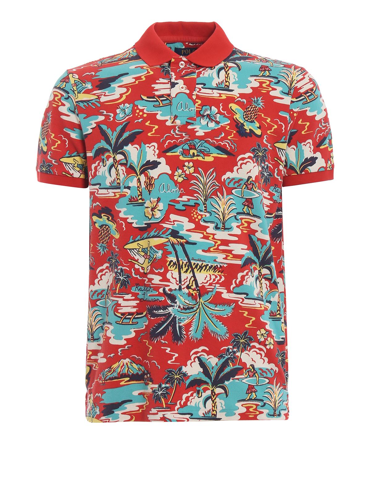 Polo Ralph Lauren - Surf print pique cotton polo shirt - polo ...