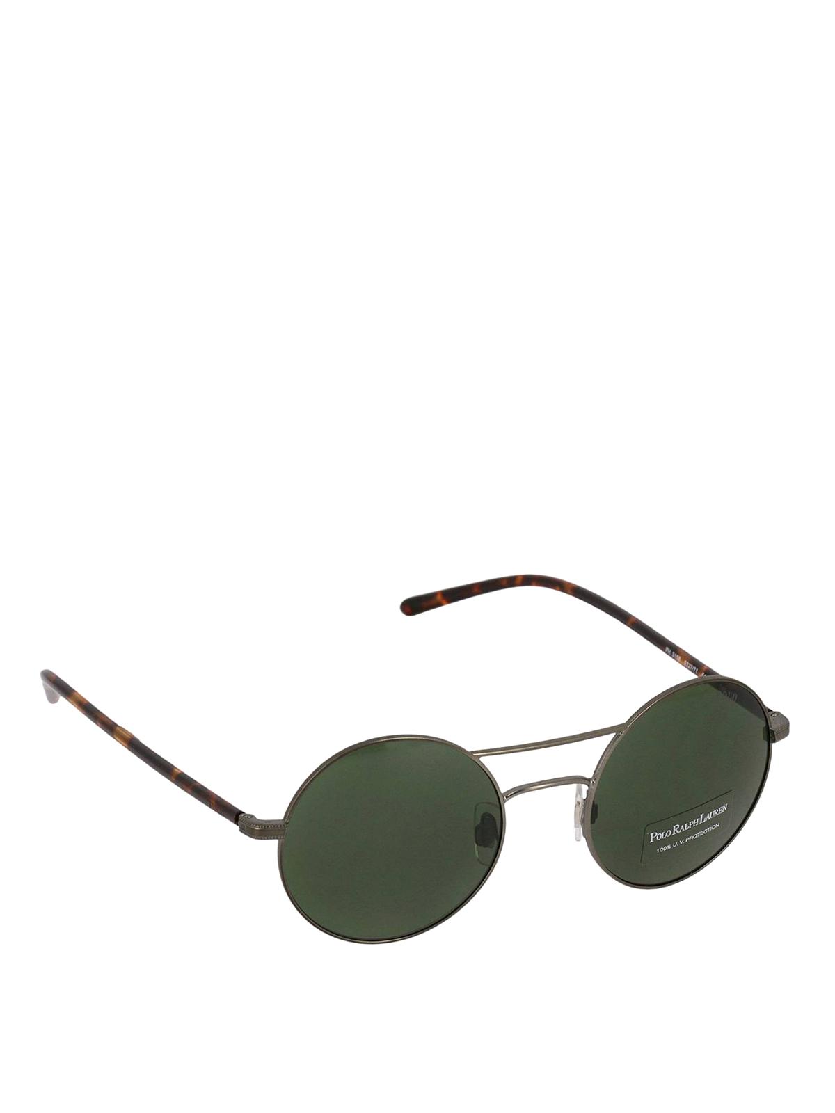 Polo Ralph Lauren Green Round Lenses Double Bridge Sunglasses