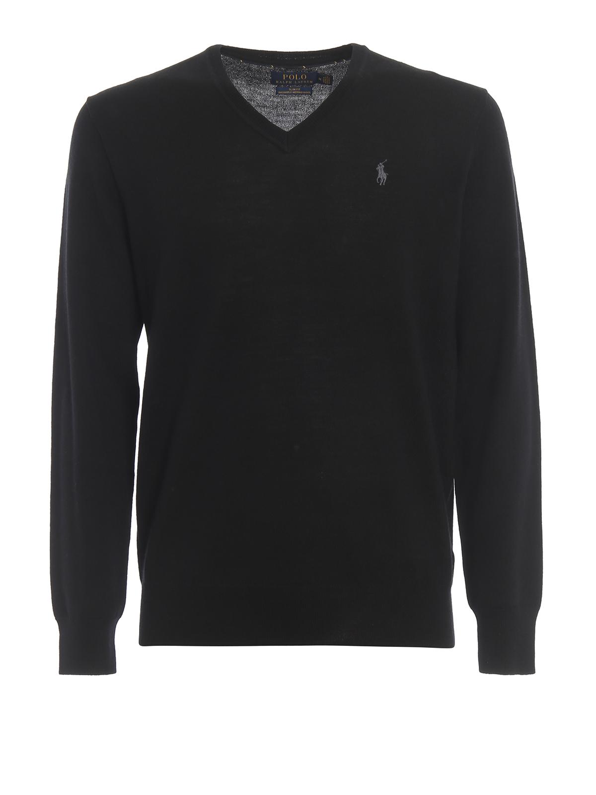 Polo Ralph Lauren Black Merino Wool V-Neck Sweater