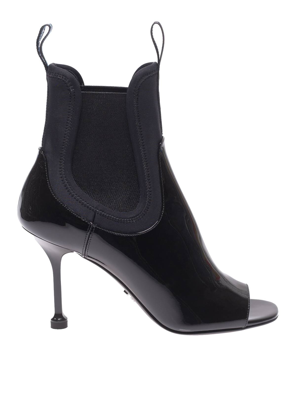 b960ad42ebb Prada - Black patent and neoprene peep toe booties - ankle boots ...