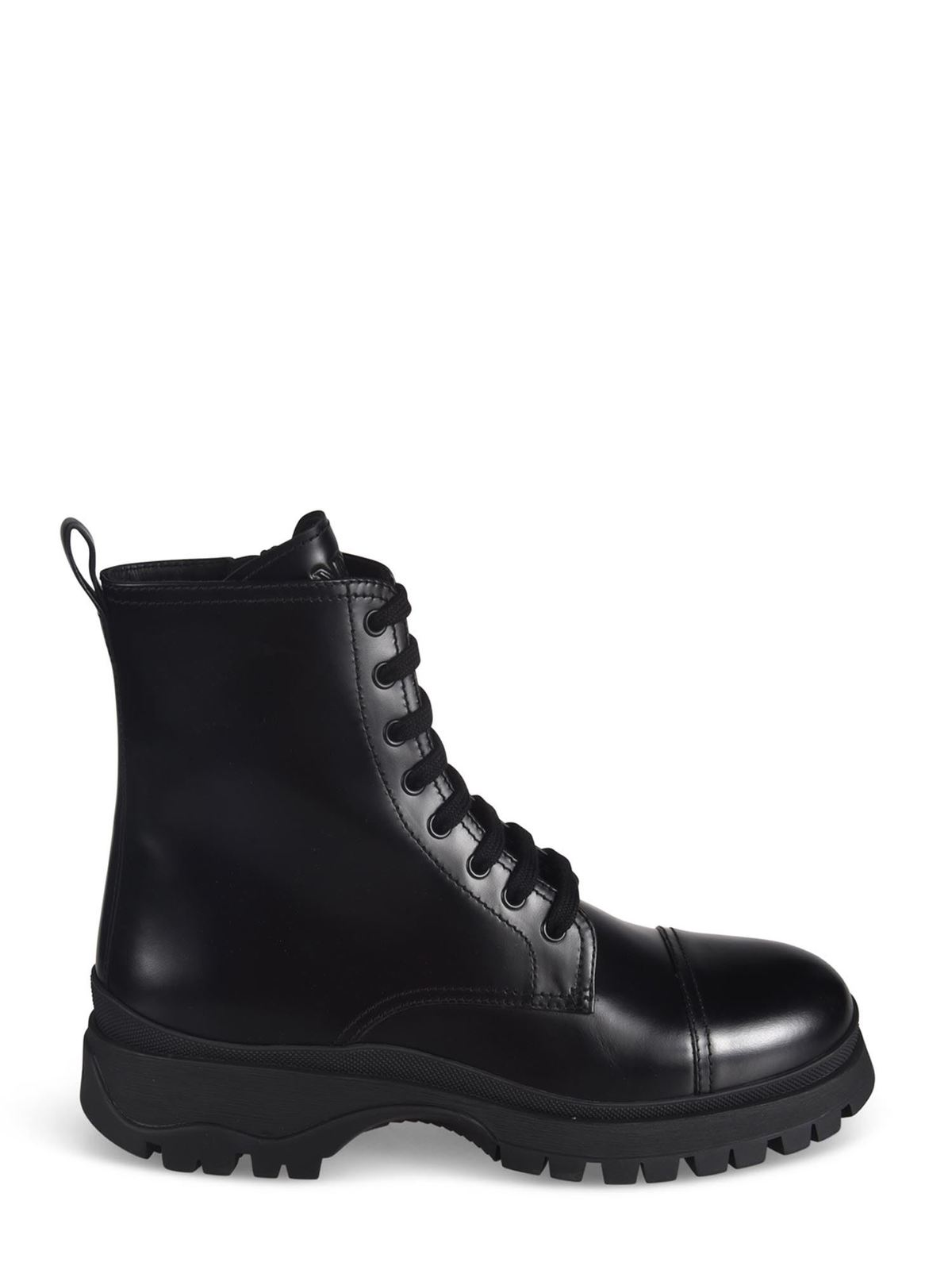PRADA BRUSHED LEATHER ANKLE BOOTS IN BLACK