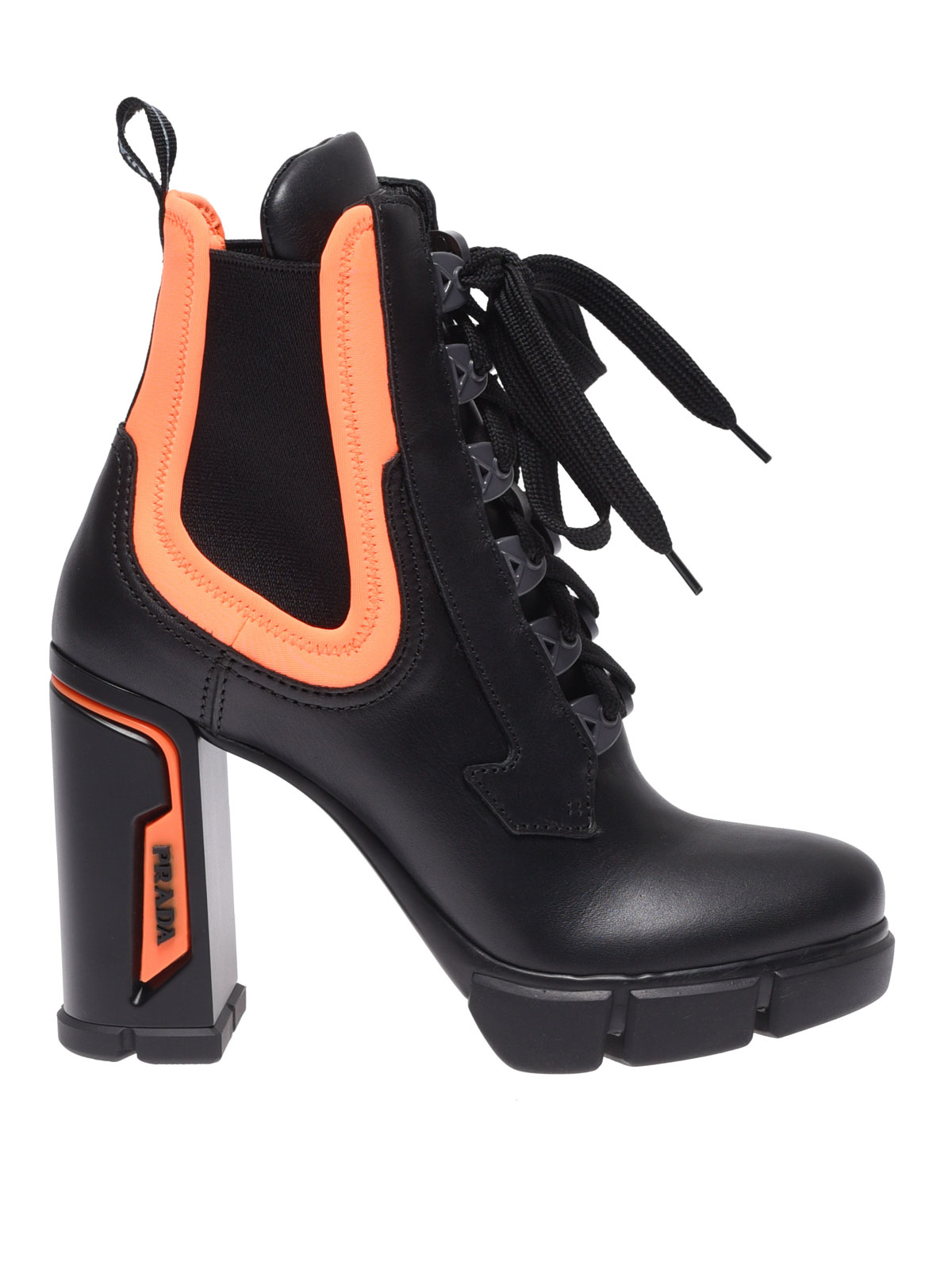 Fluo detailed leather ankle boots