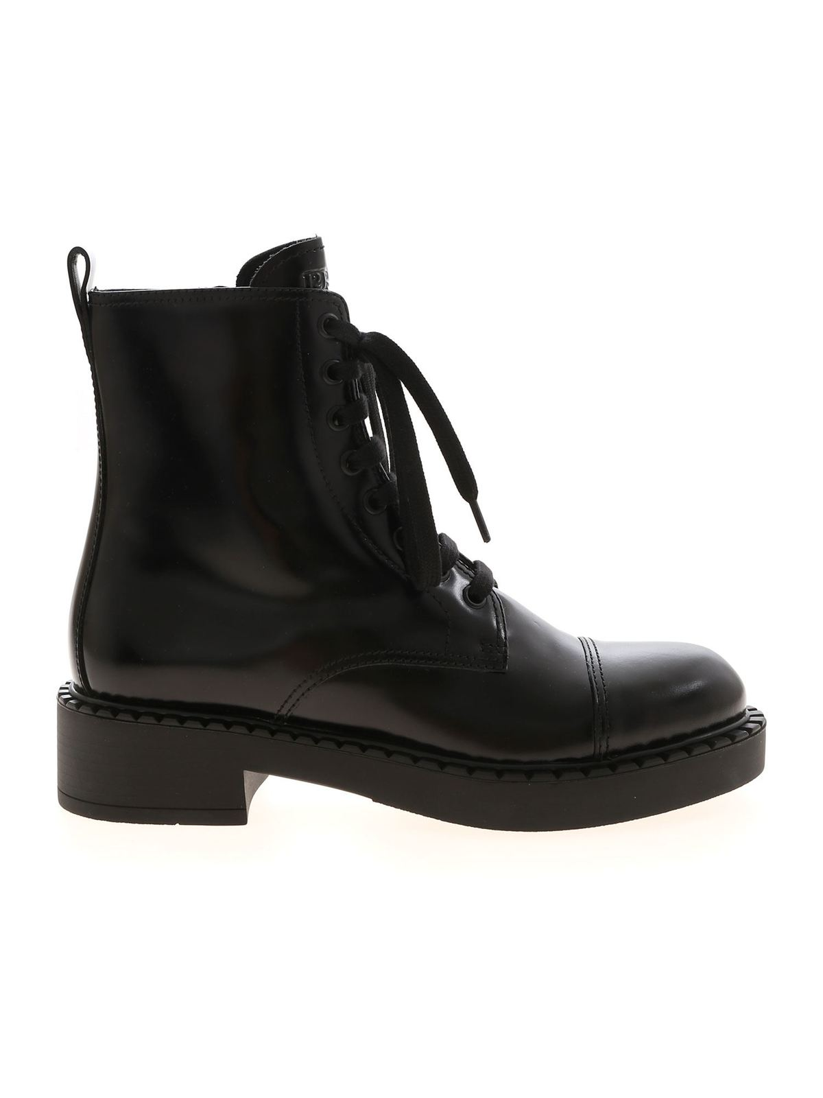 Prada SHINY ANKLE BOOTS IN BLACK