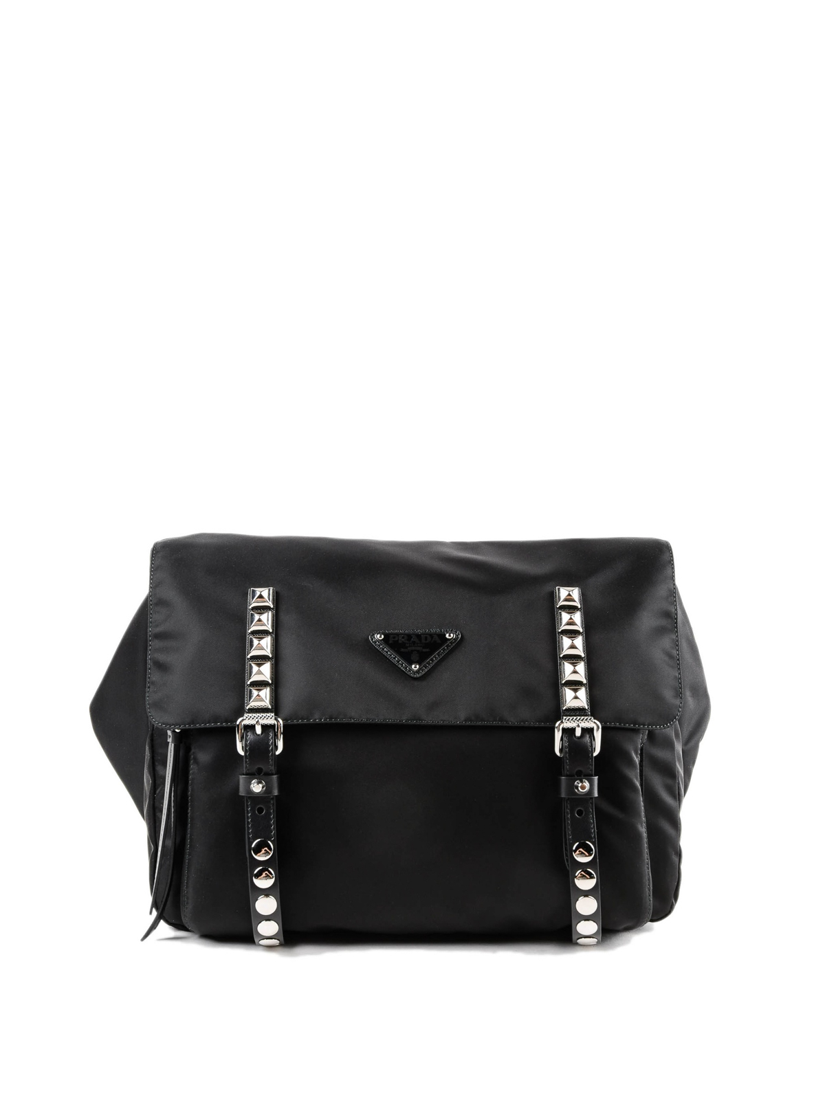 2ec10842abea Prada - Black nylon belt bag with silver studs - belt bags ...