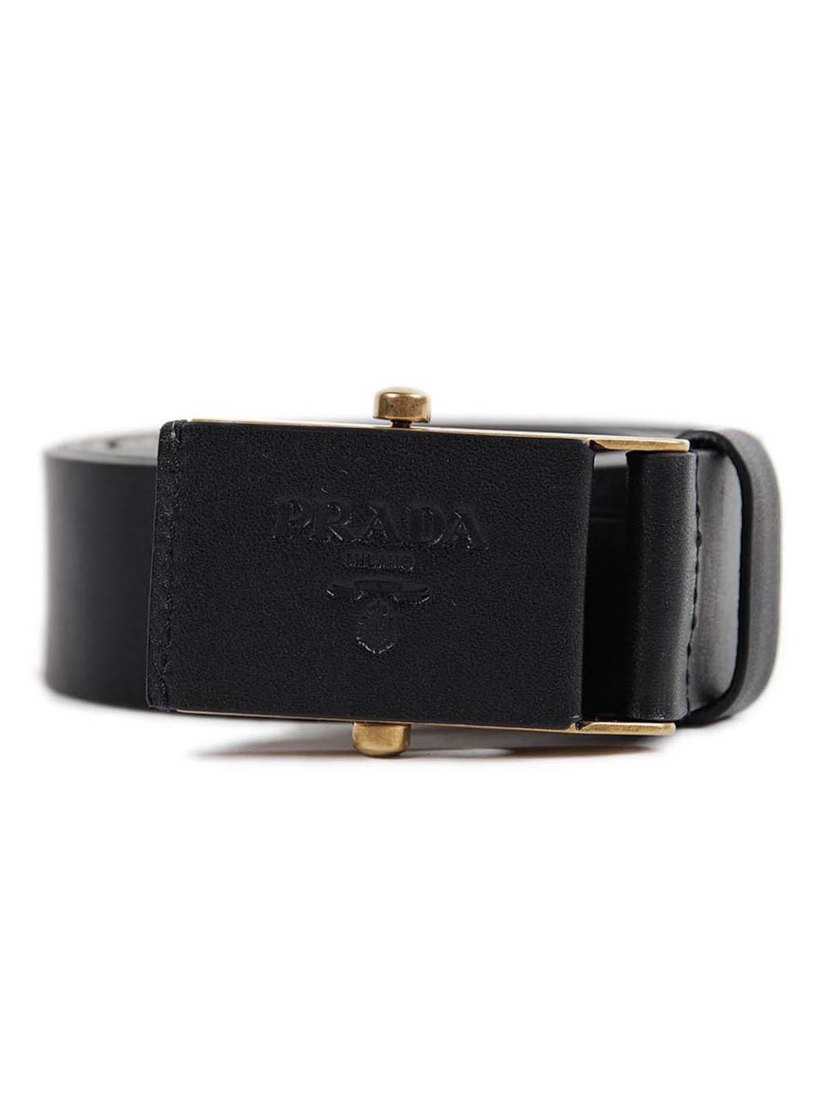 Iconic buckle leather belt by Prada - belts | iKRIX