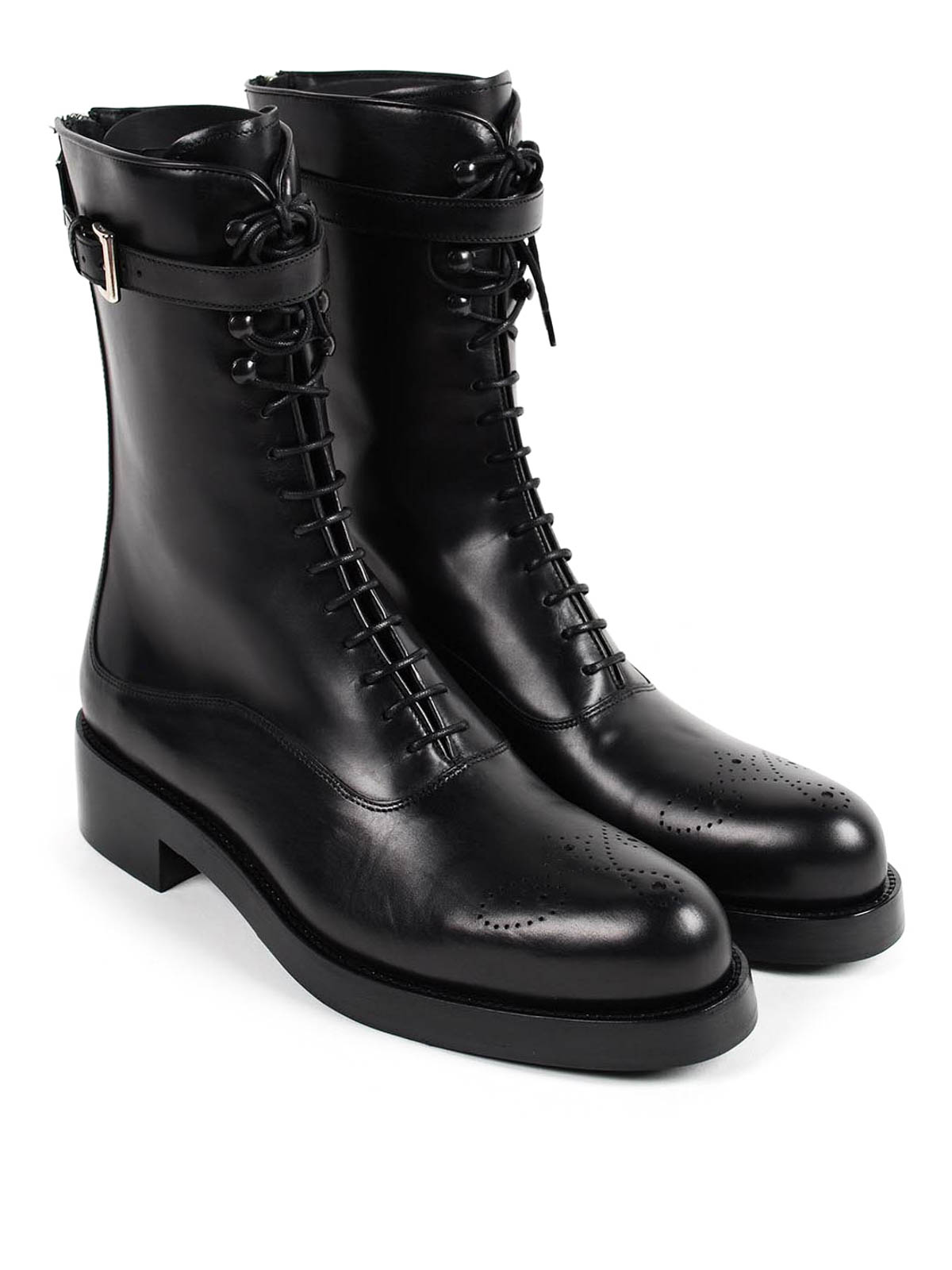 Lace up leather boots by Prada - boots | iKRIX