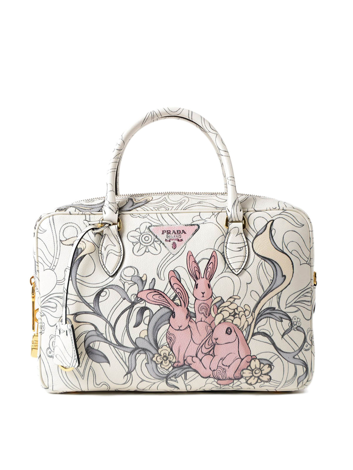 Prada - Rabbit print leather bowling bag - bowling bags ... eece9f3ce8973