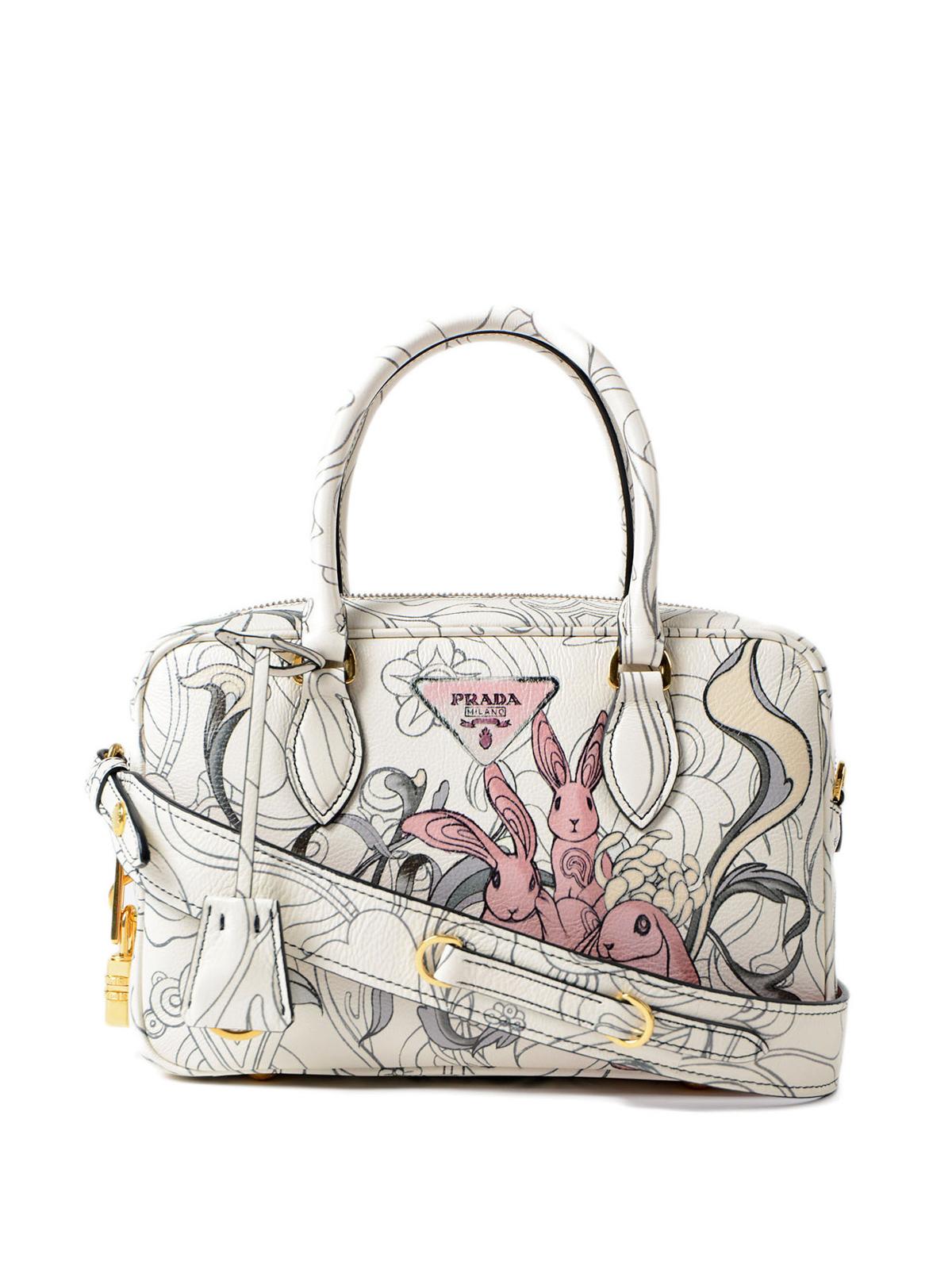 8159a951b3e1 Prada - Rabbit print leather small handbag - bowling bags ...